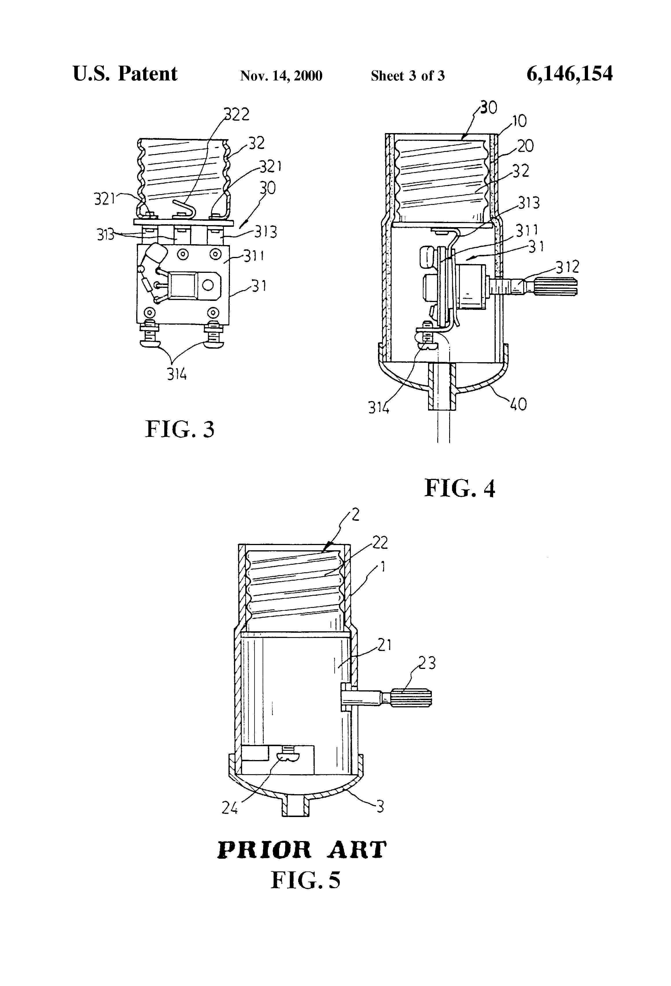 patent us6146154 - light bulb holder structure
