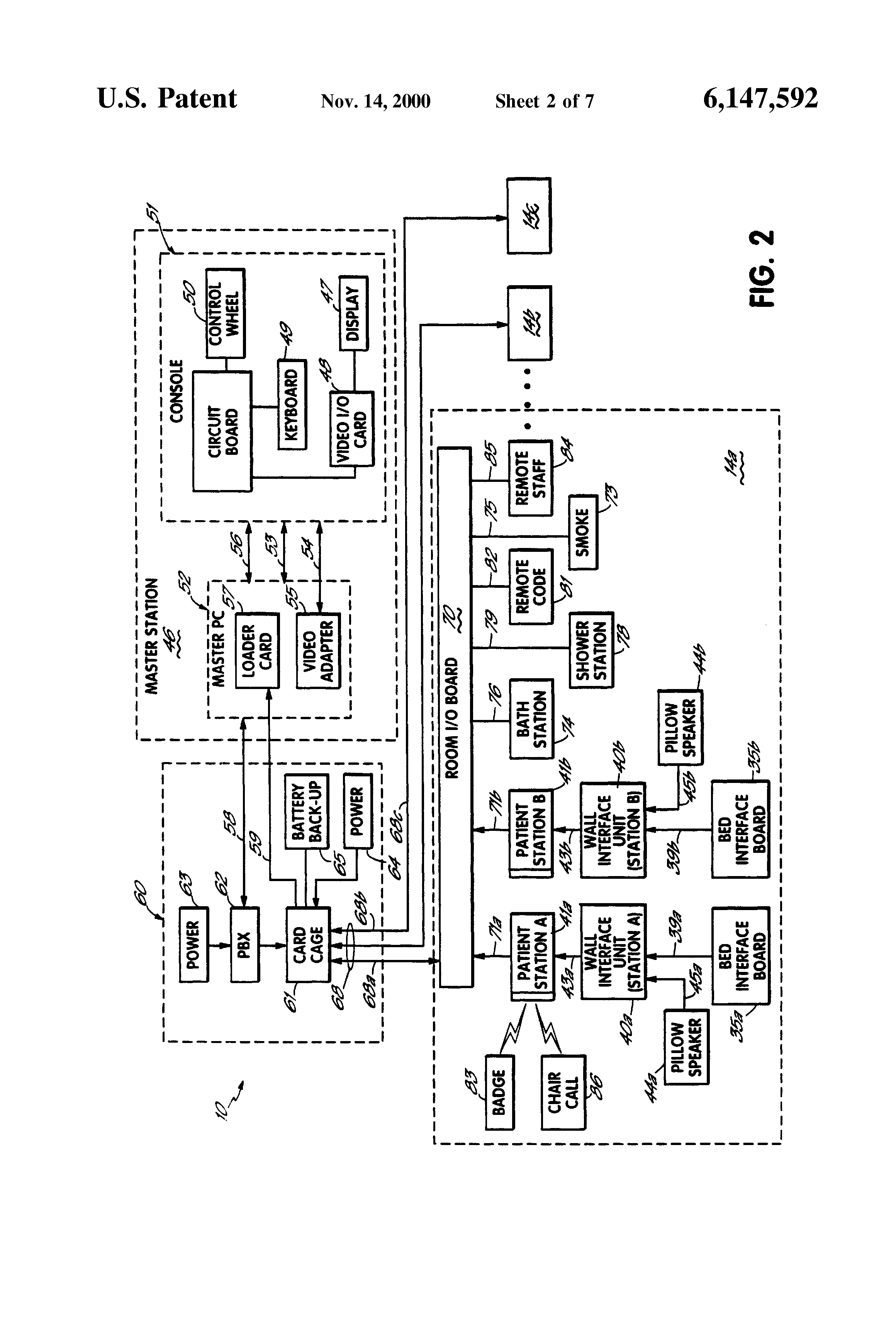 Patent Us6147592 Bed Status Information System For Hospital Beds Having Wireless Data On Wiring Box Wall Mount Tv Drawing
