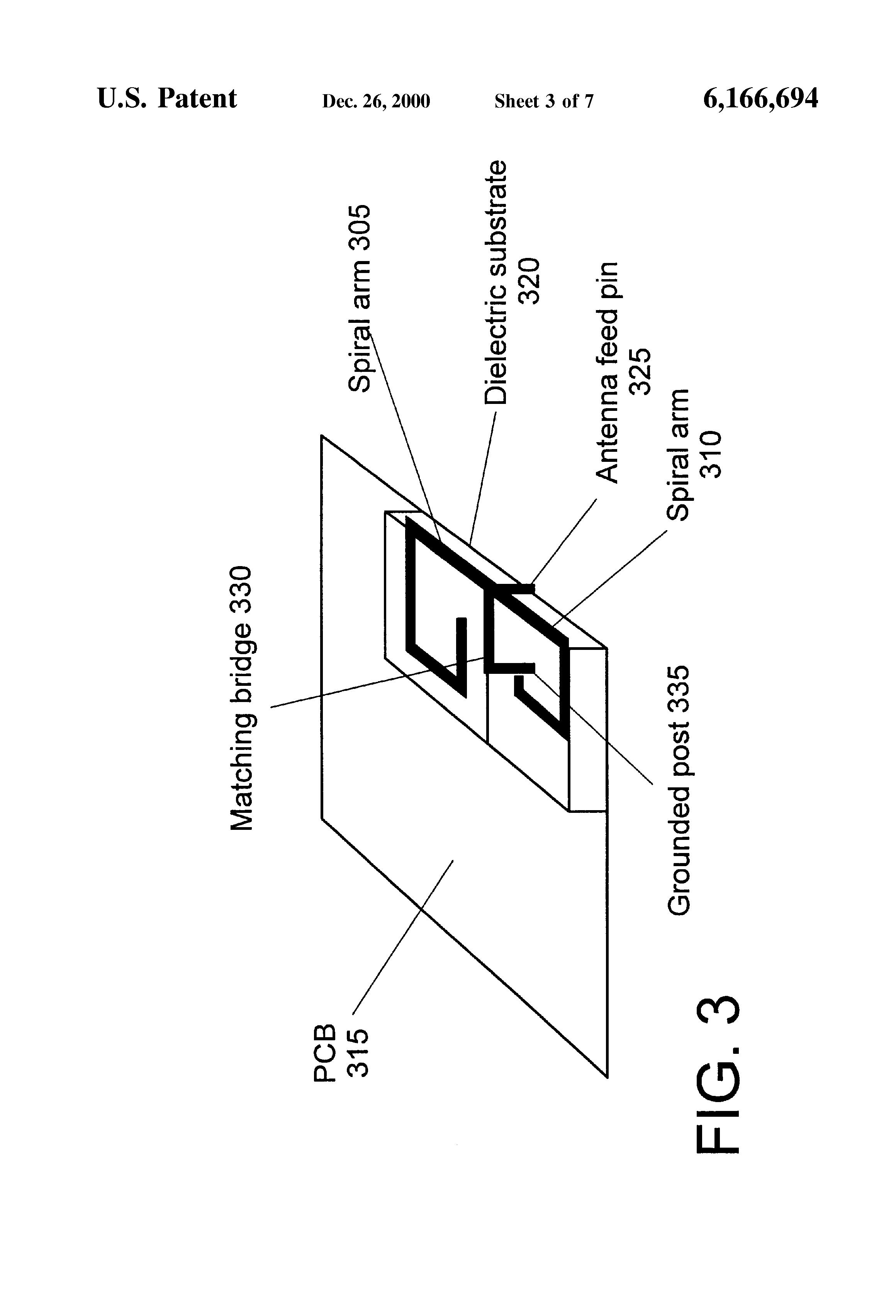 patent us6166694 - printed twin spiral dual band antenna