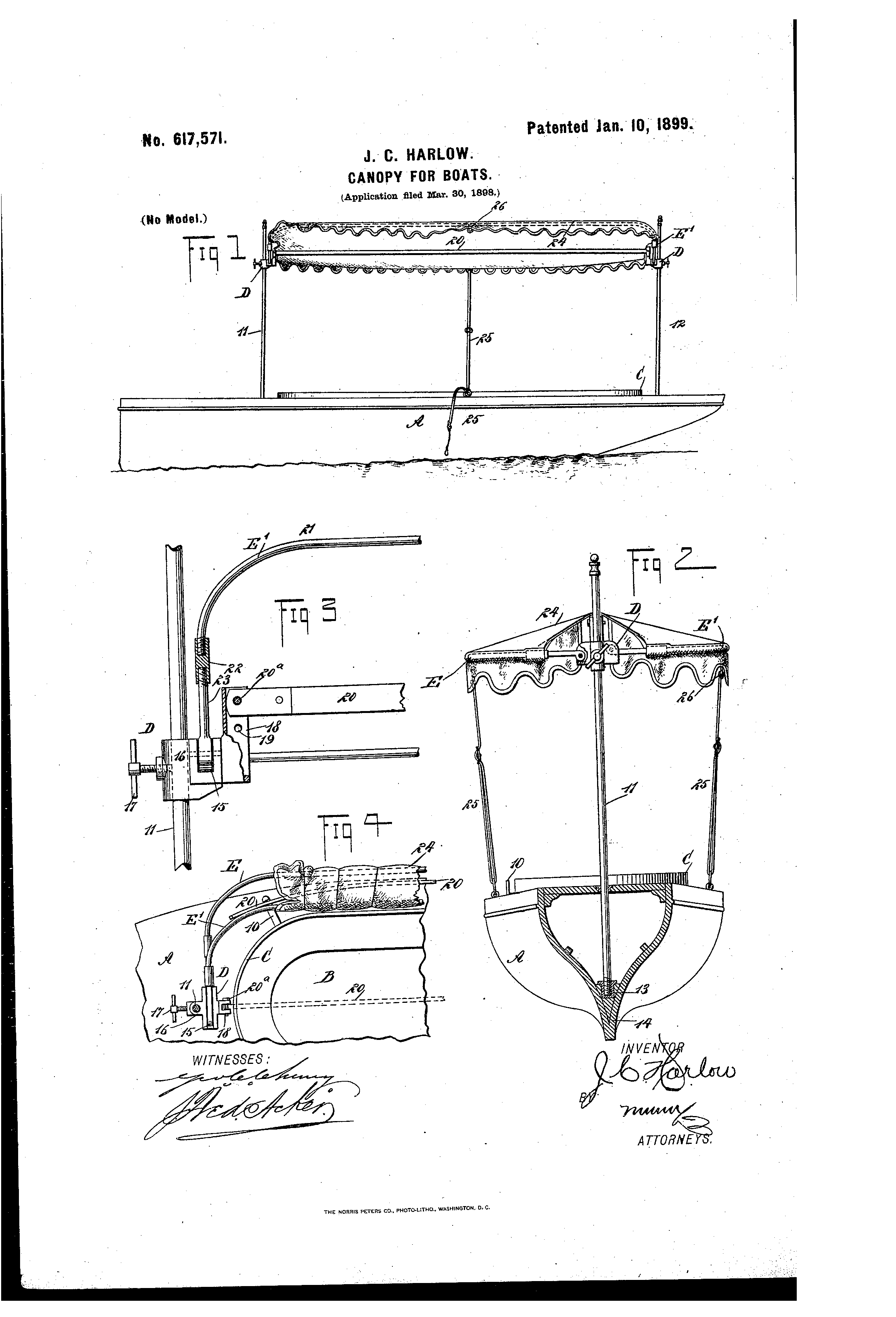 Patent US617571 - Canopy for boats - Google Patents