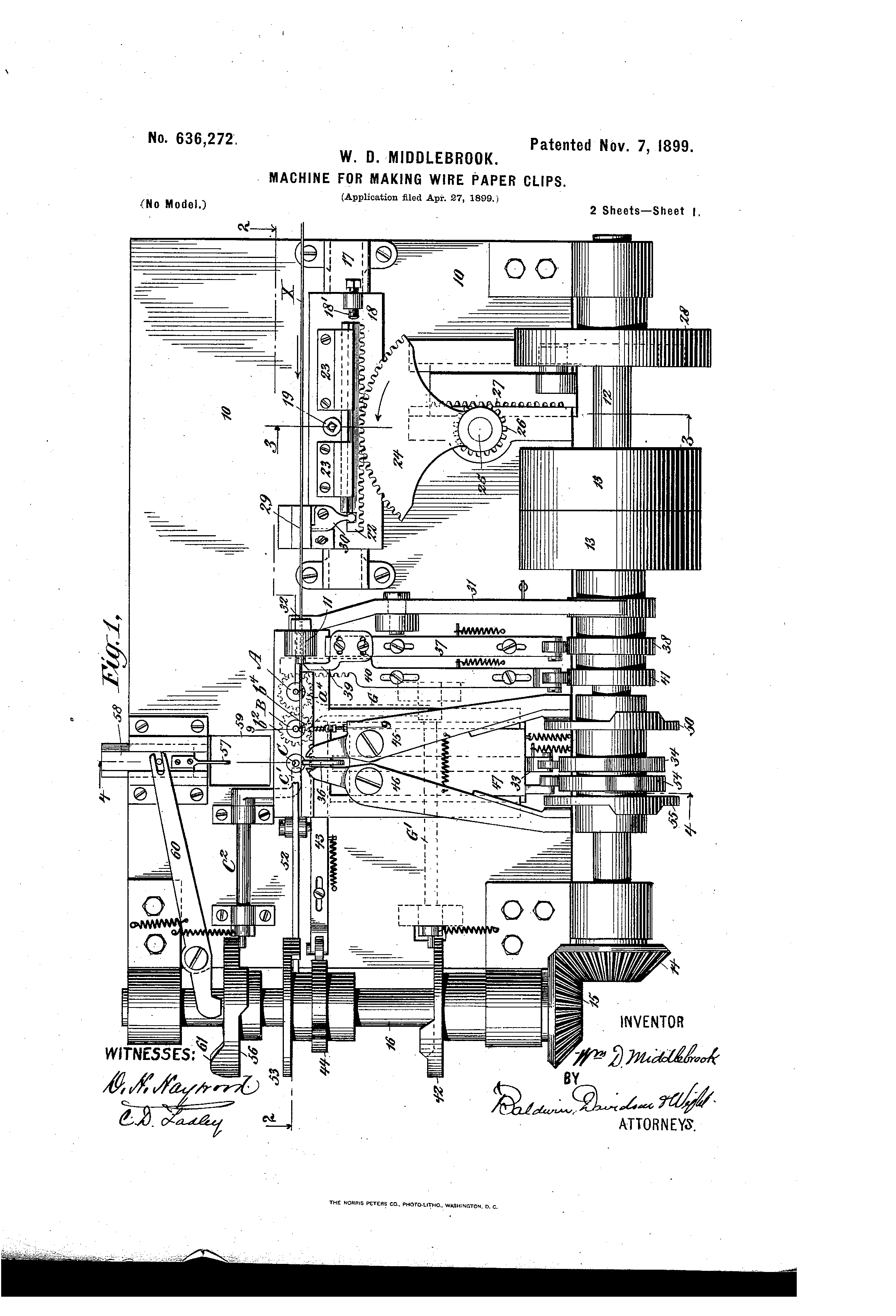 patent us636272 - machine for making wire paper-clips