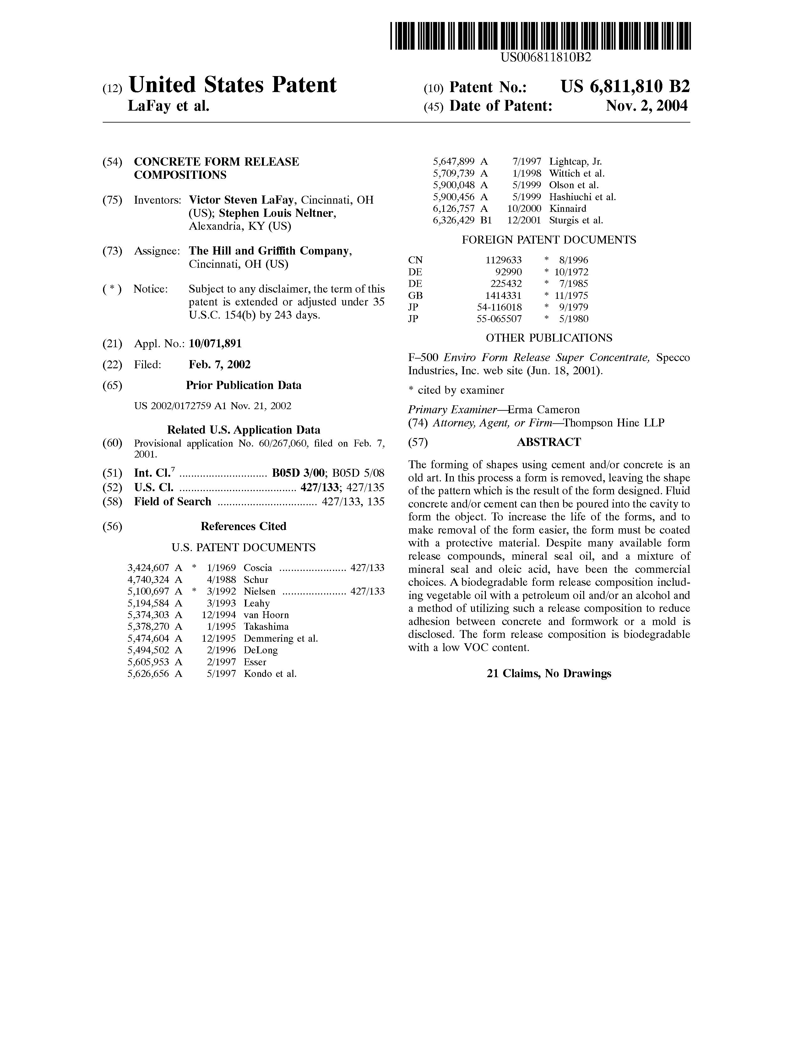 Patent US6811810 - Concrete form release compositions - Google Patents