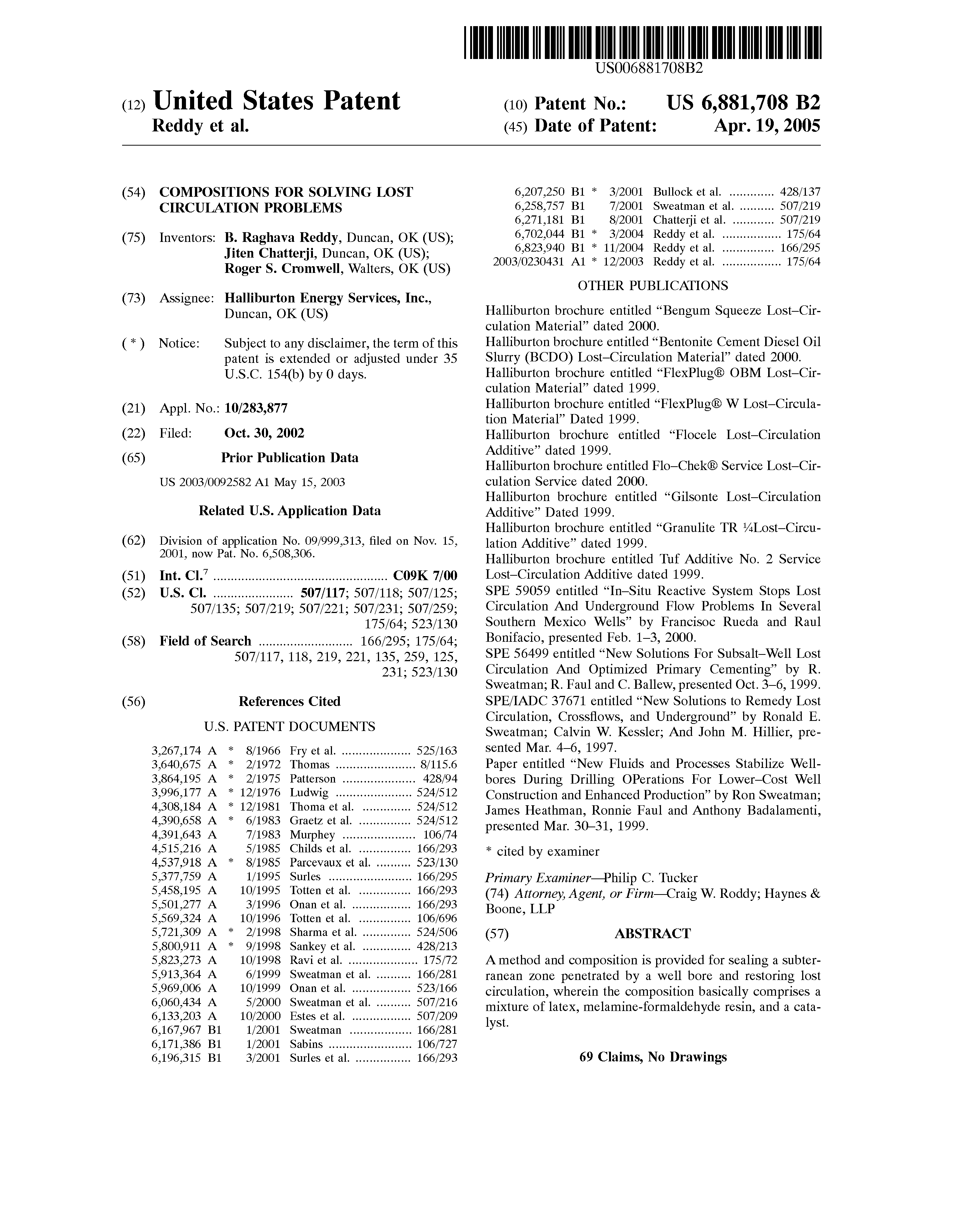 Circulation Service Inc : Patent us compositions for solving lost