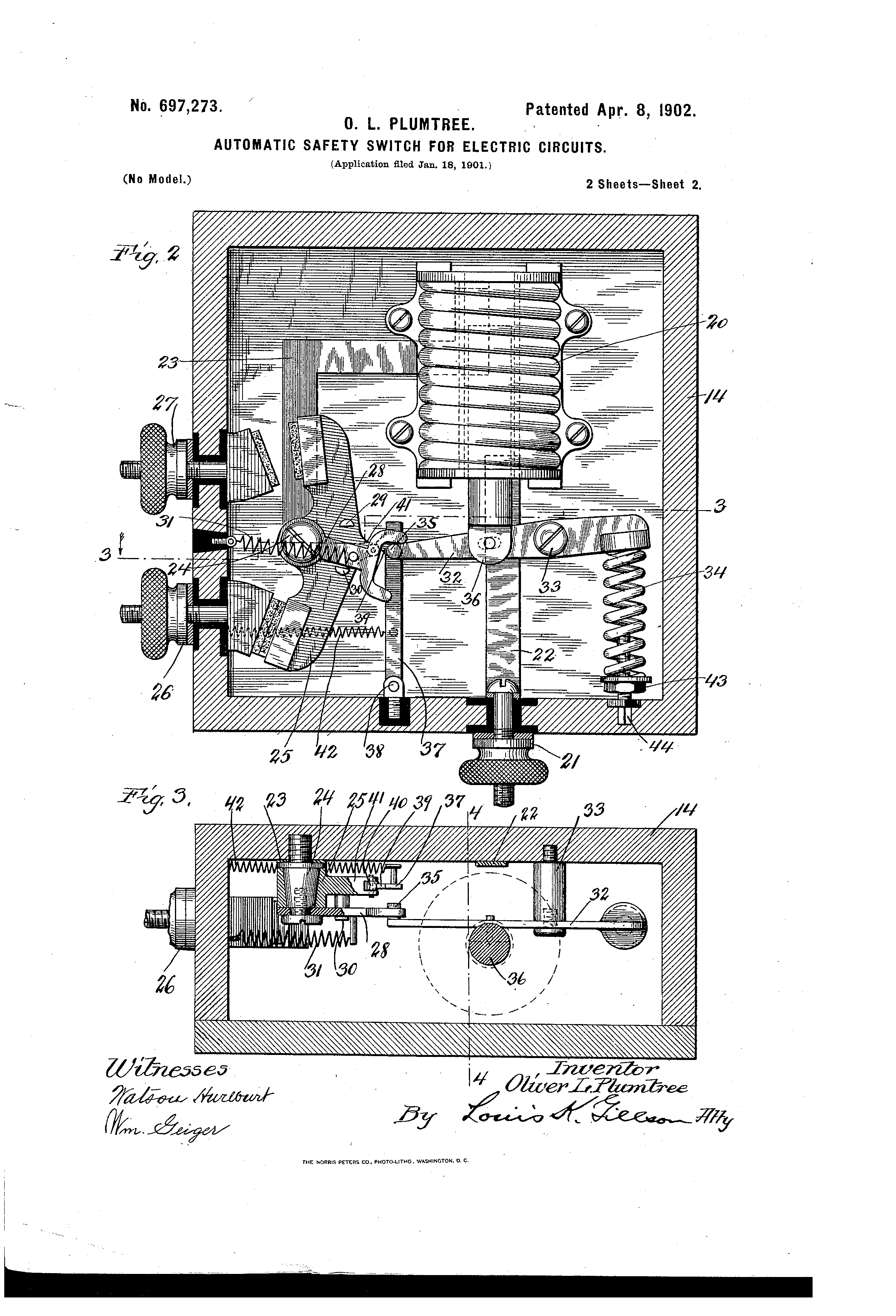 Patent US697273 - Automatic safety-switch for electric circuits ...