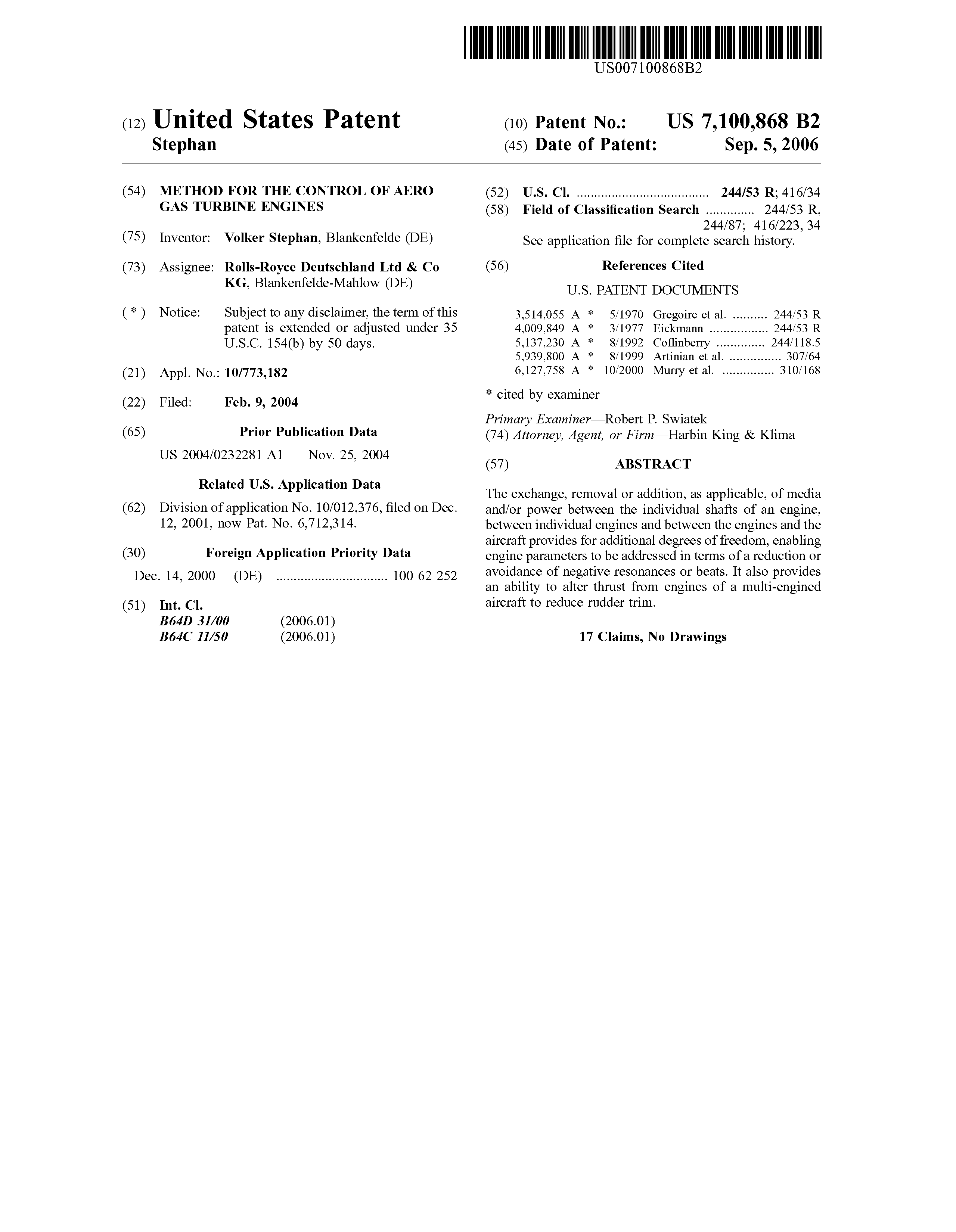 Patent US Method for the control of aero gas turbine