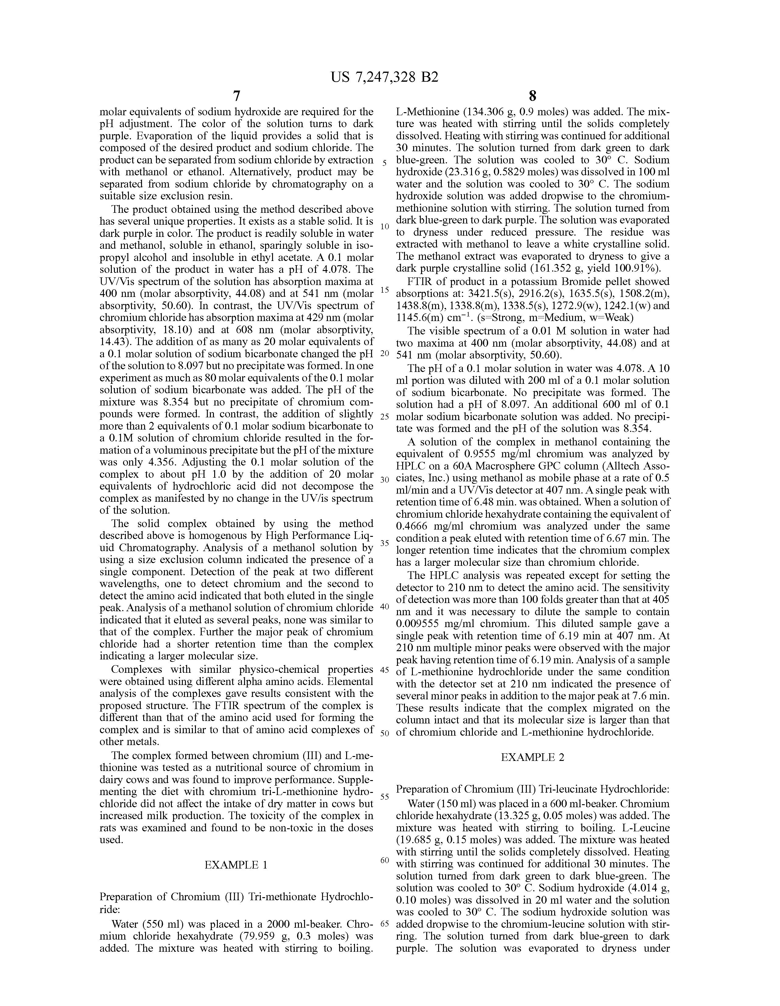 Patent US7247328 - Chromium (III) alpha amino acid complexes ...