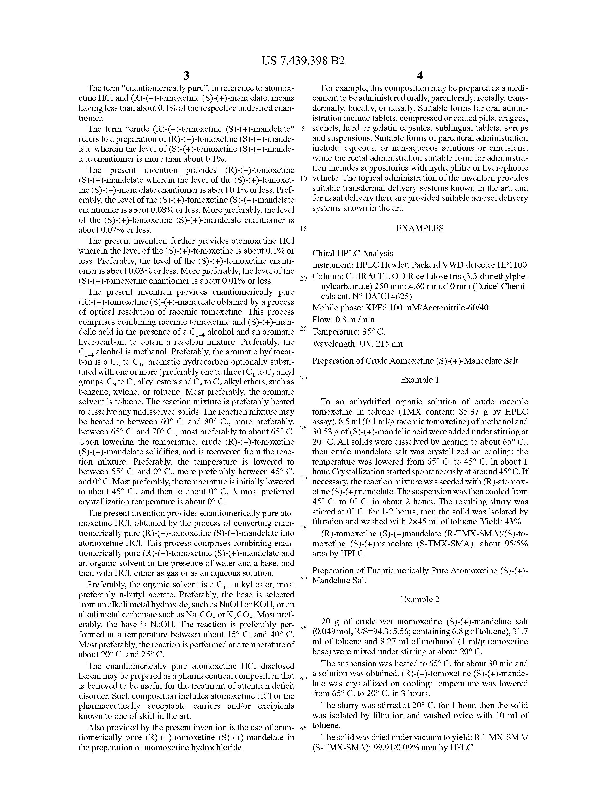 Atomoxetine Hydrochloride Patent