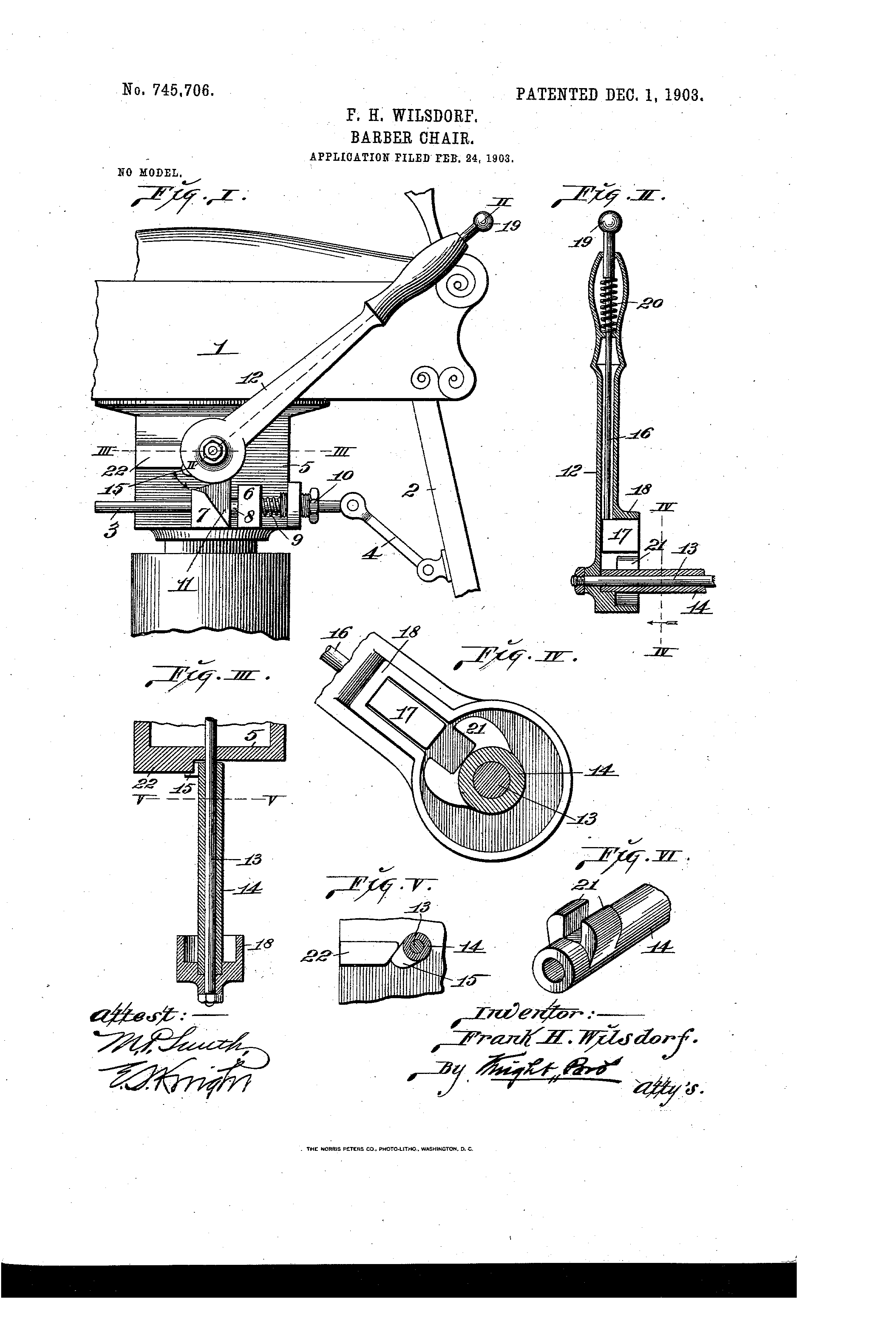 patent us745706 - barber-chair