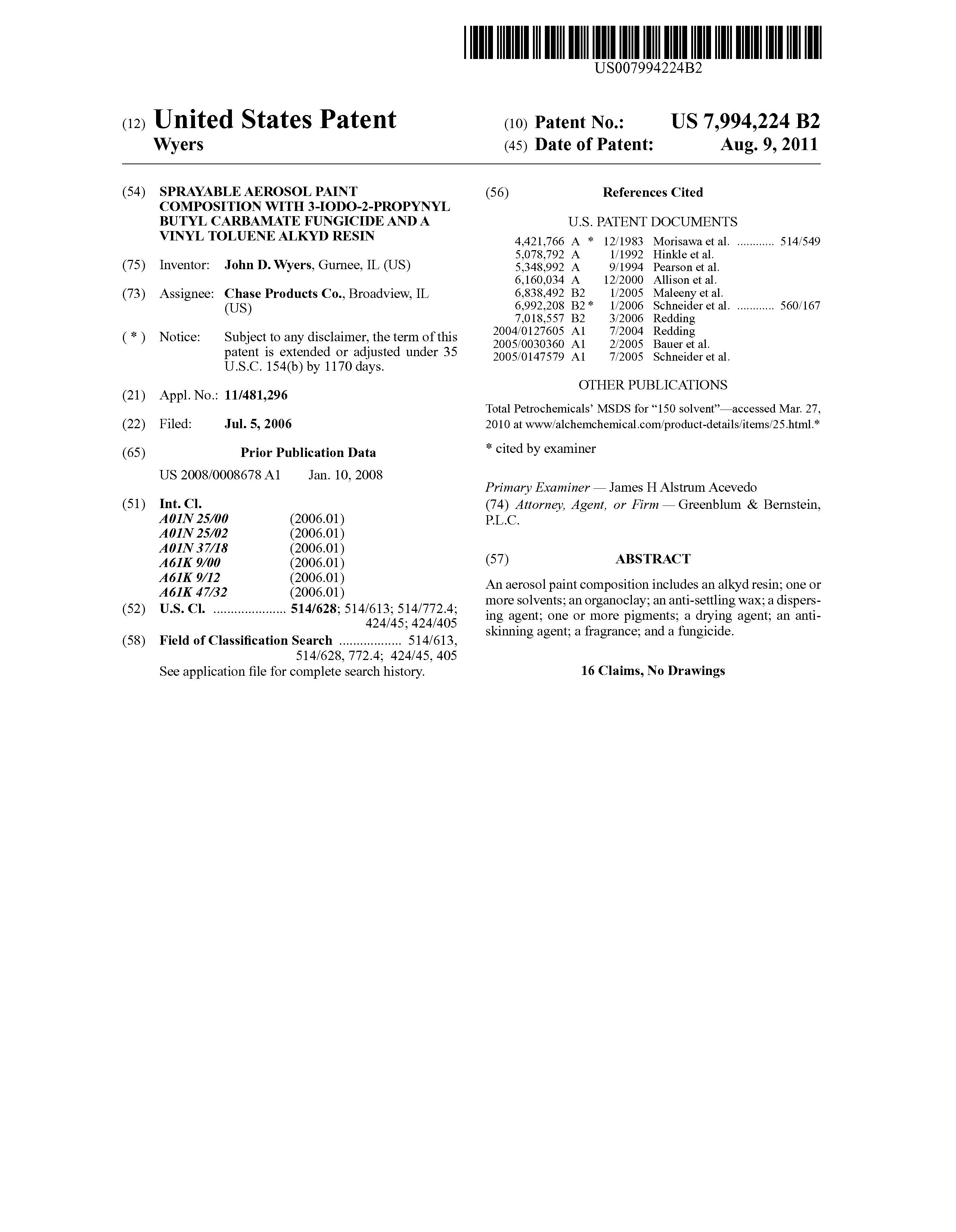 Patent Us7994224 Sprayable Aerosol Paint Composition