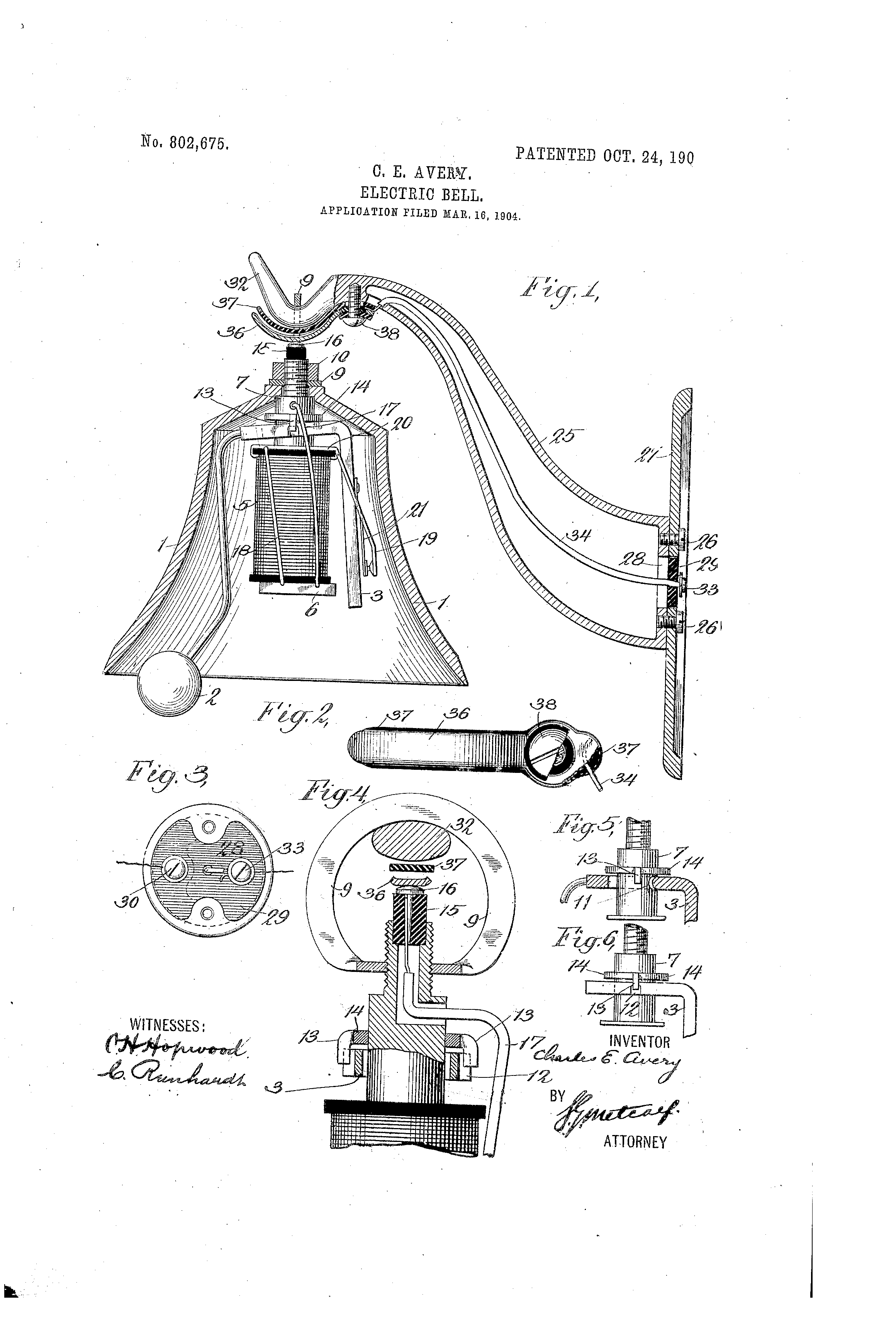 patent us802675 - electric bell
