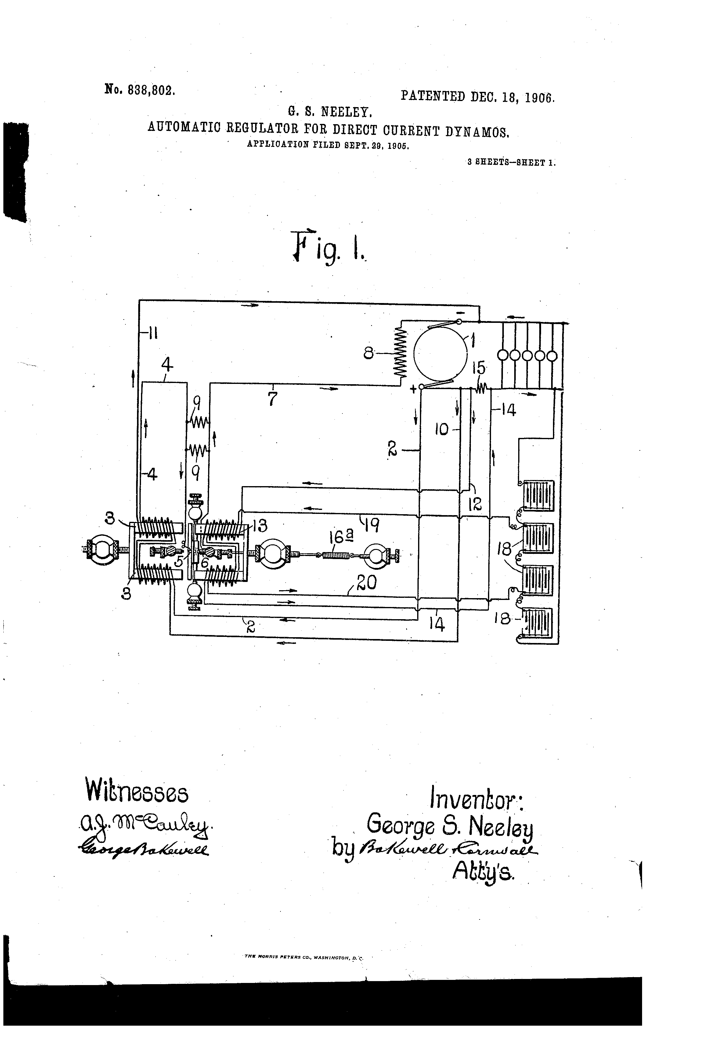 Patent Us838802 Automatic Regulator For Direct Current Dynamos Dynamo Circuit Diagram Drawing