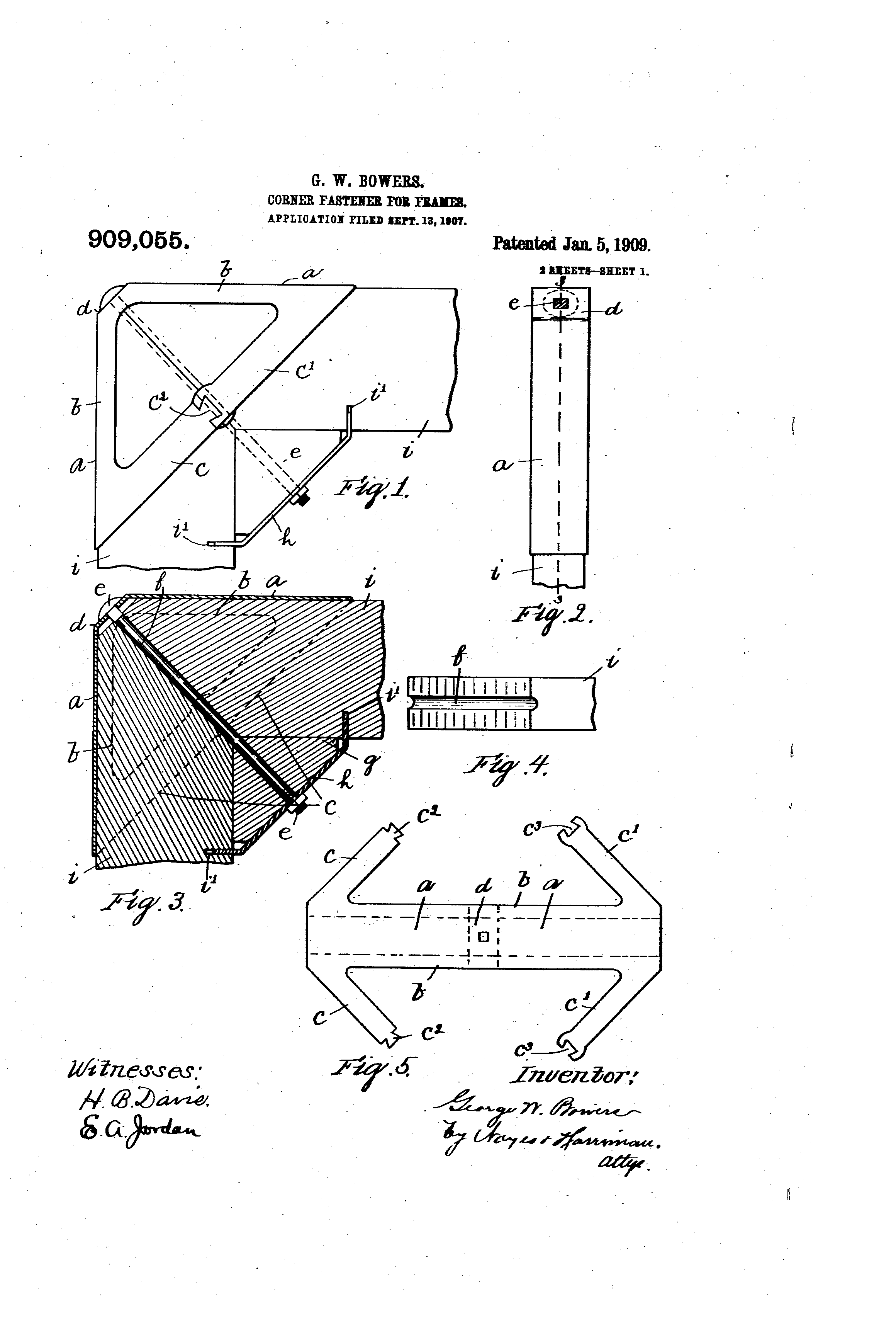 Patent US909055 - Corner-fastener for frames. - Google Patents