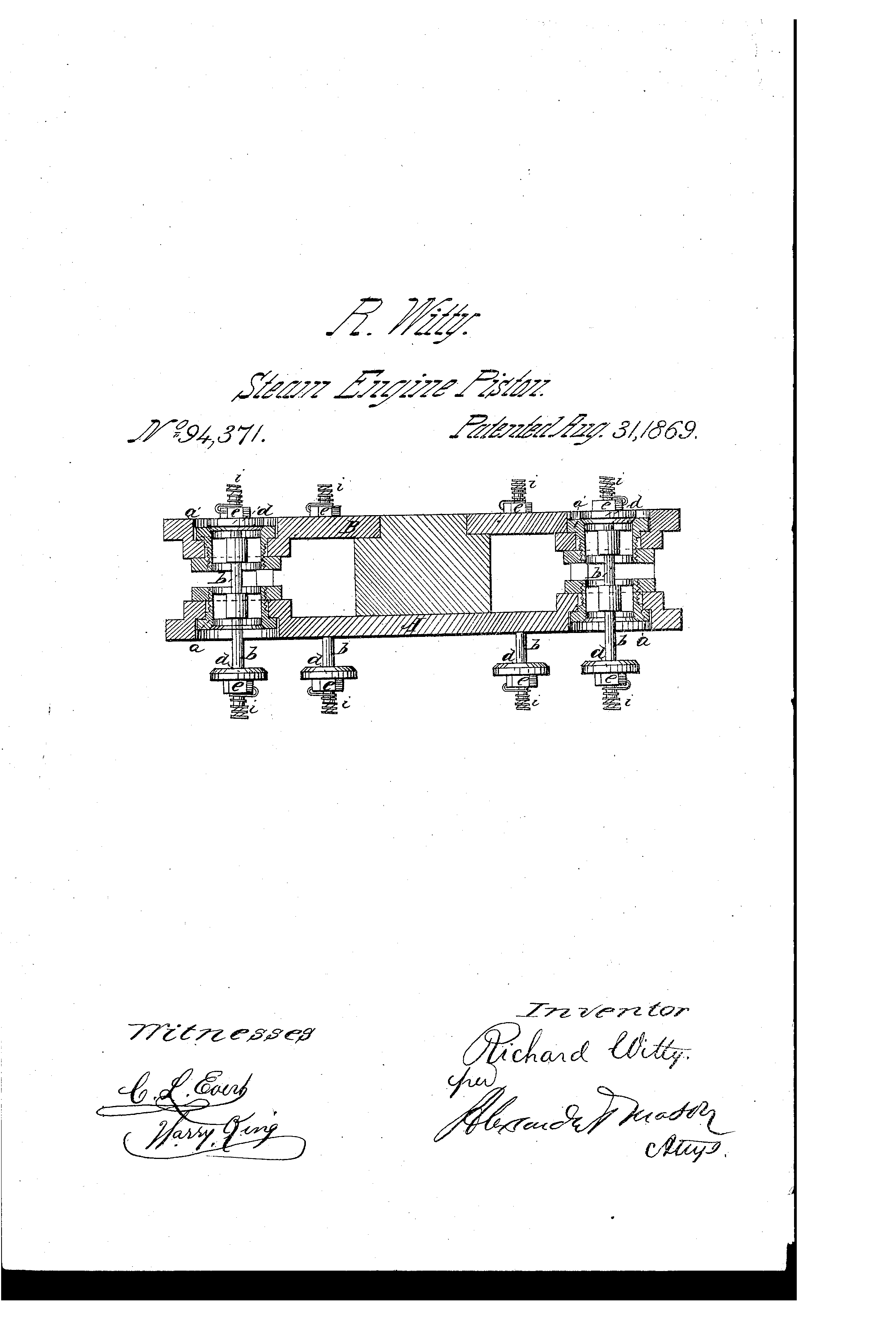 Patent Us94371 Improvement In Steam Engine Pistons Google Patents Piston Diagram Drawing