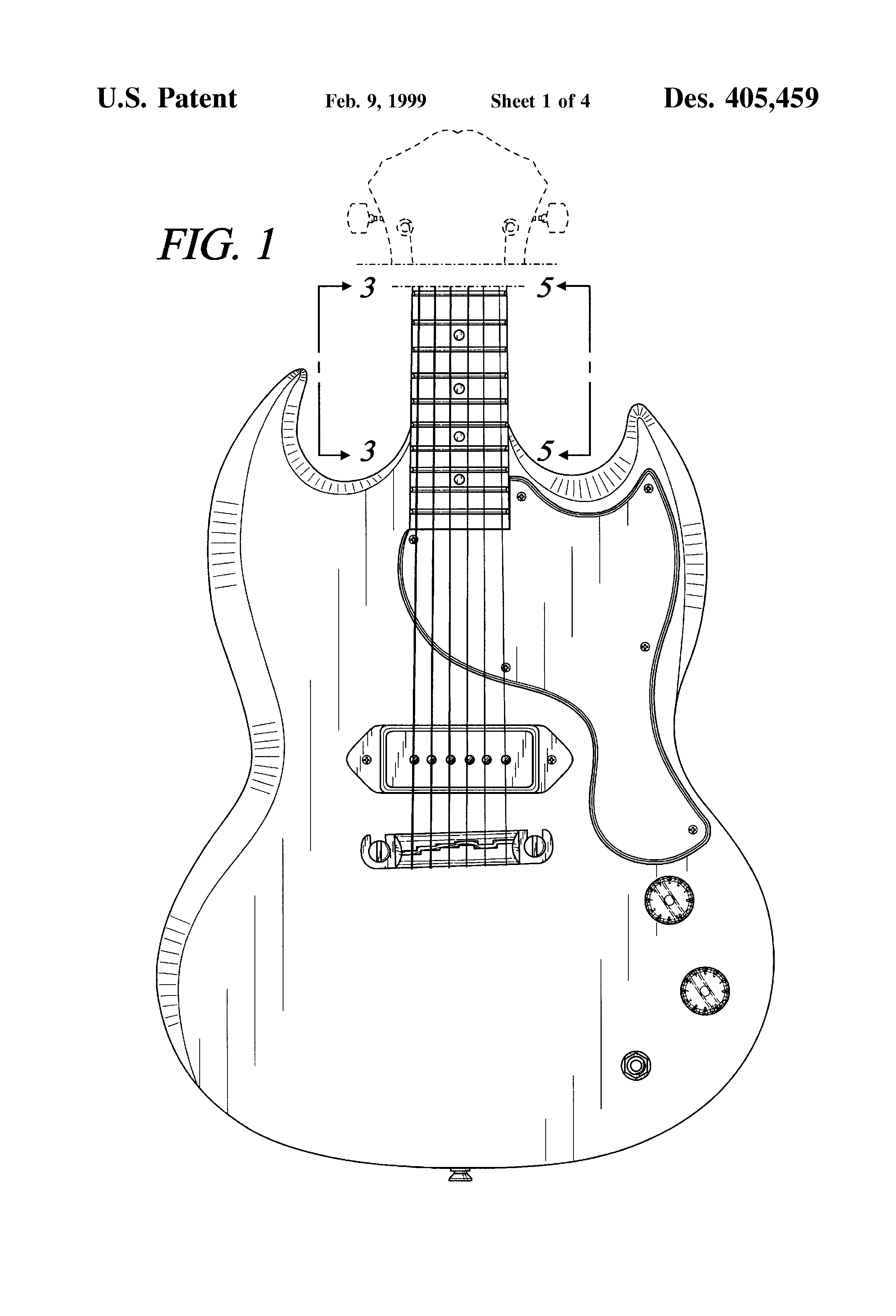 patent usd405459 - electric guitar body