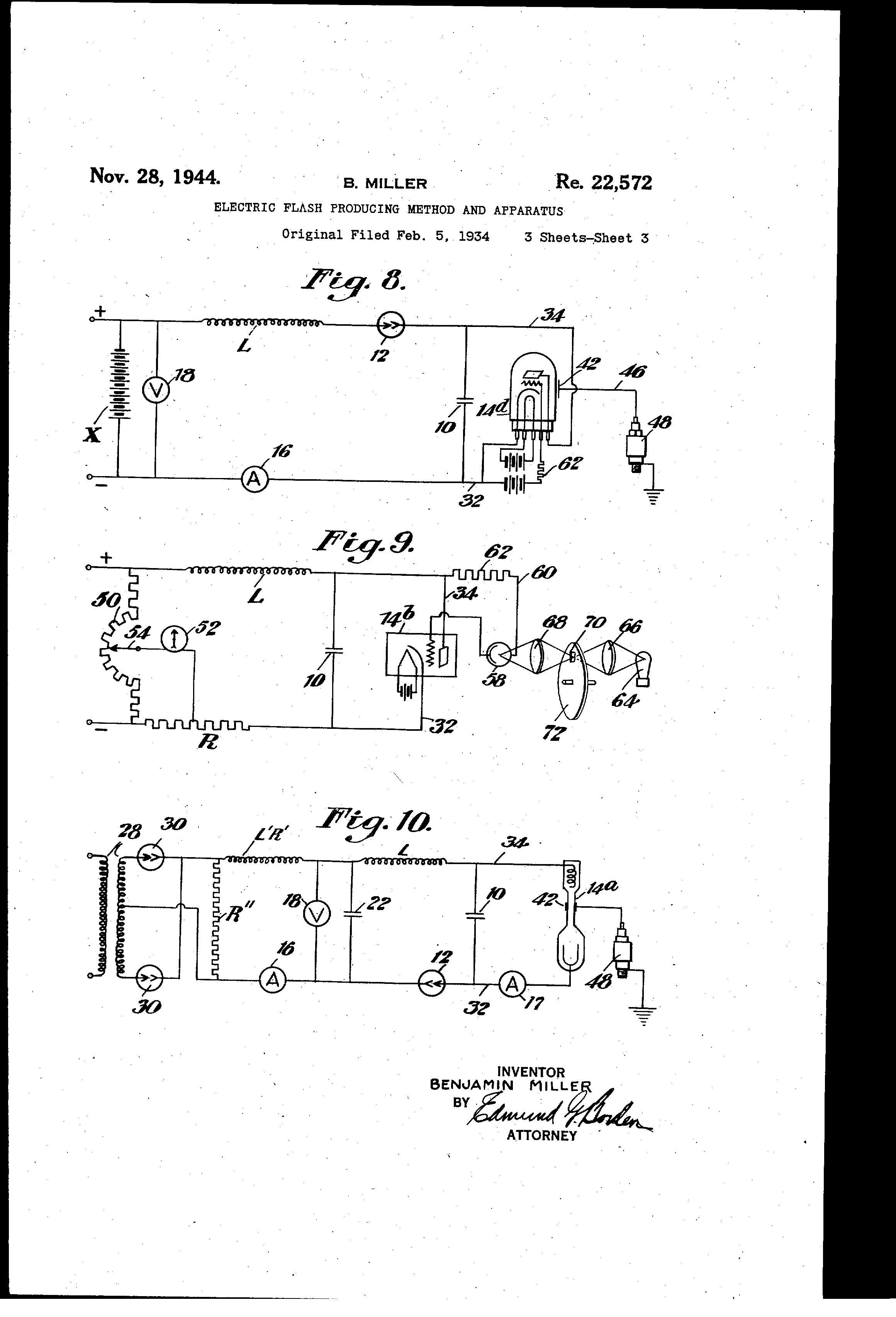 Patent Usre22572 Electric Flash Producing Method And Apparatus Photo Cell Wiring Diagram Mercury Vapor Drawing