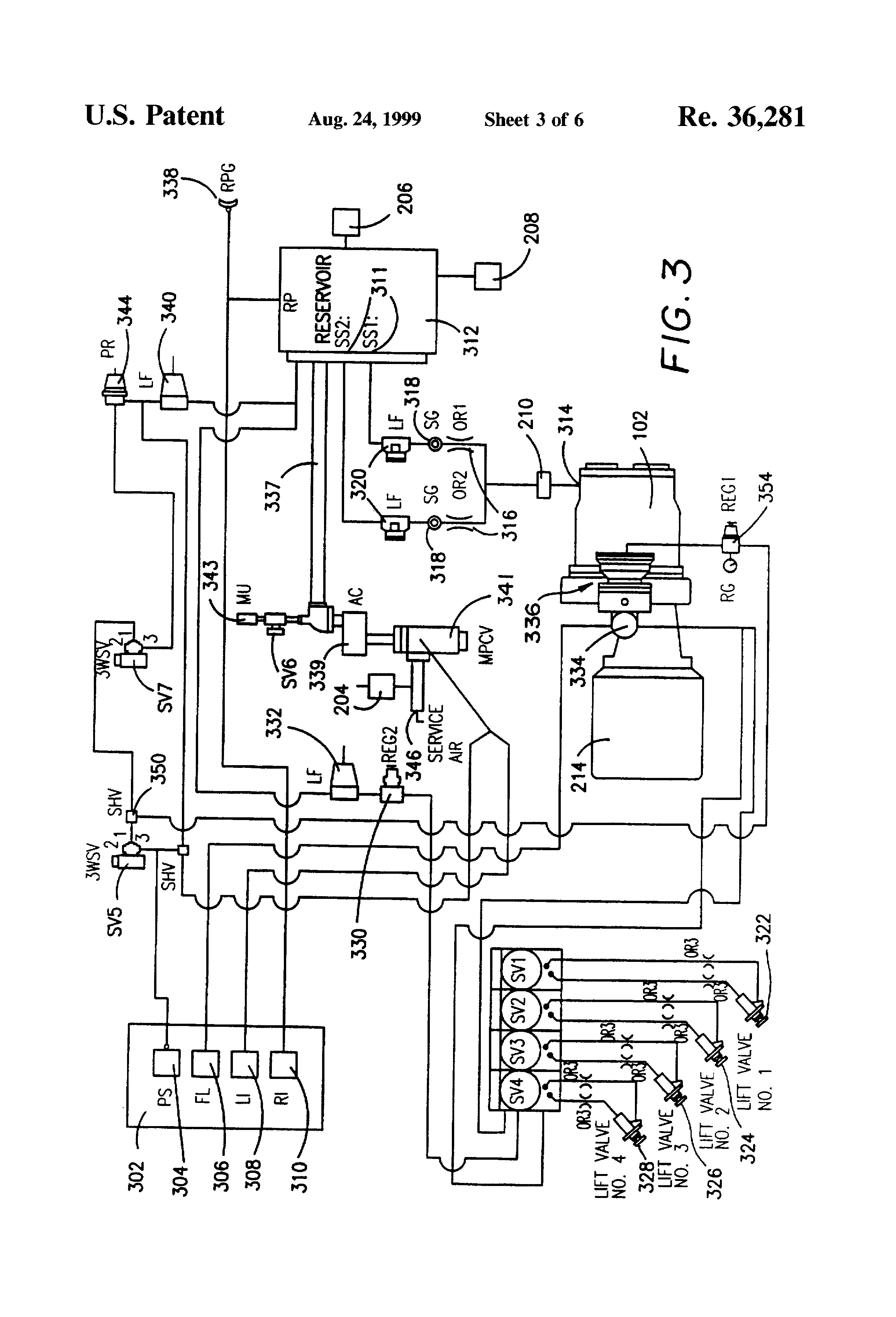 patent usre36281 valve system for capacity control of a screw patent drawing