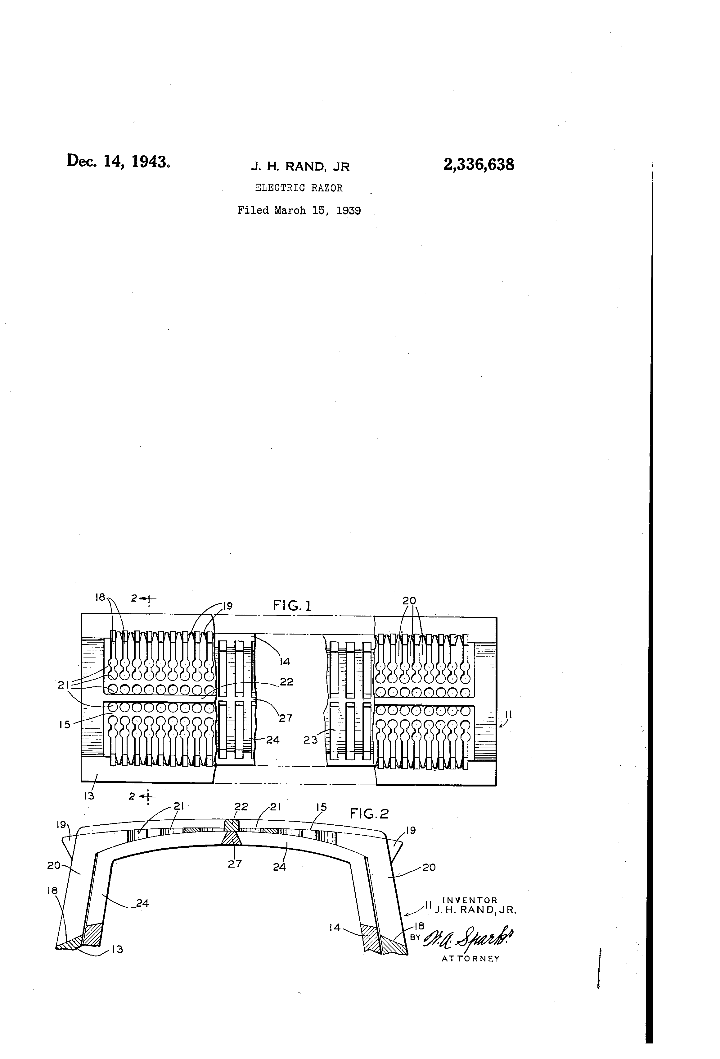 US2336638 patent drawings