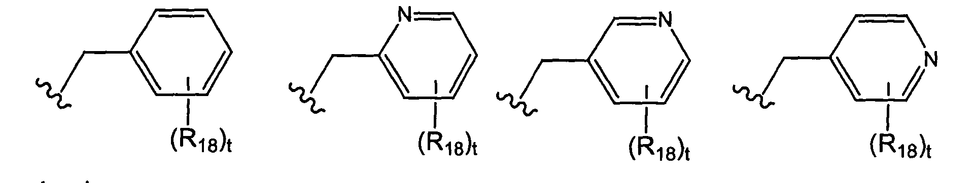 t is 0 1 2 3 4 or 5 and each r 18 is independently selected from the group consisting of halo perhalo c 1 10 alkyl cf 3 c 1 10 alkyl alkenyl