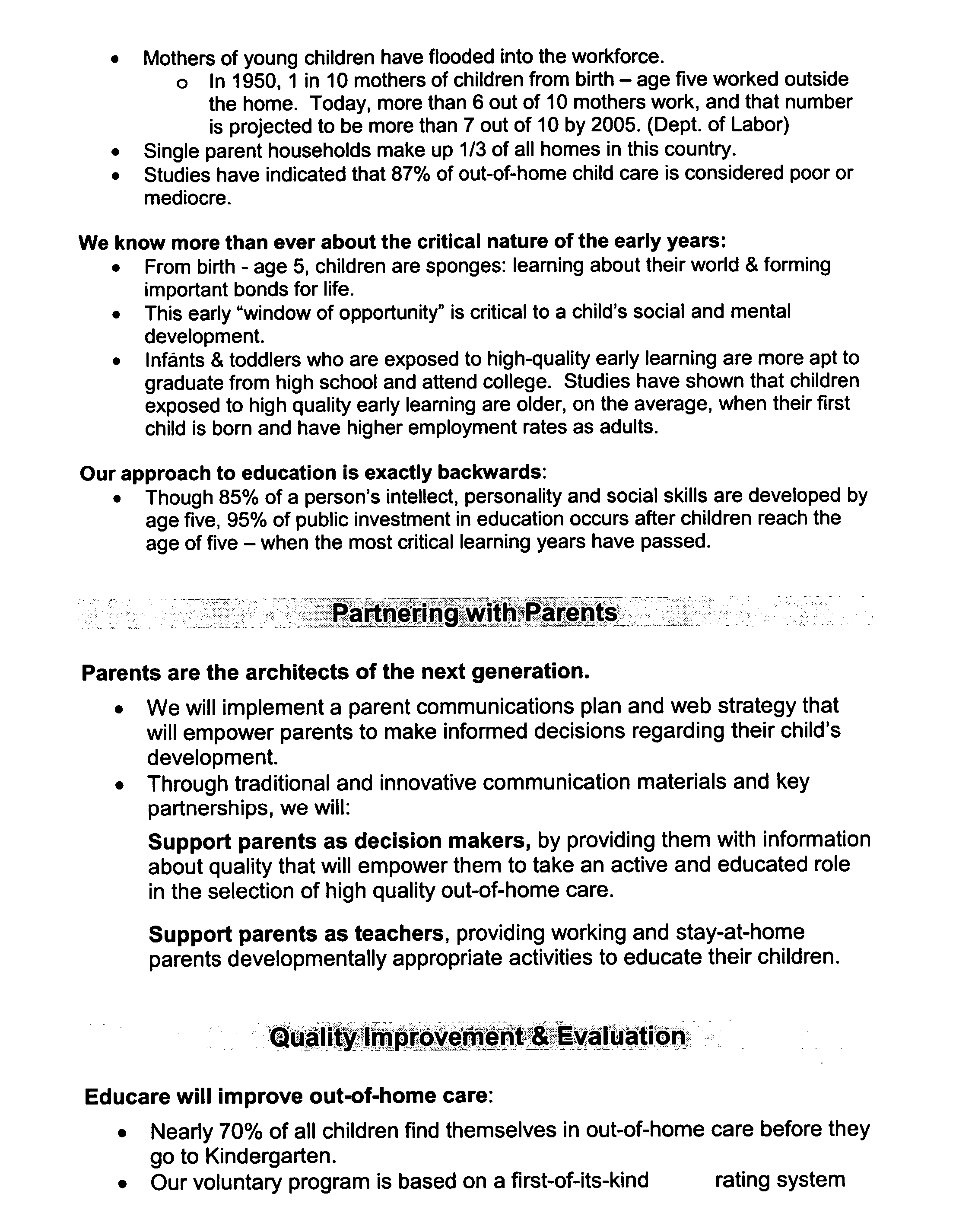 US A1 Rating Method And System For Early Childhood