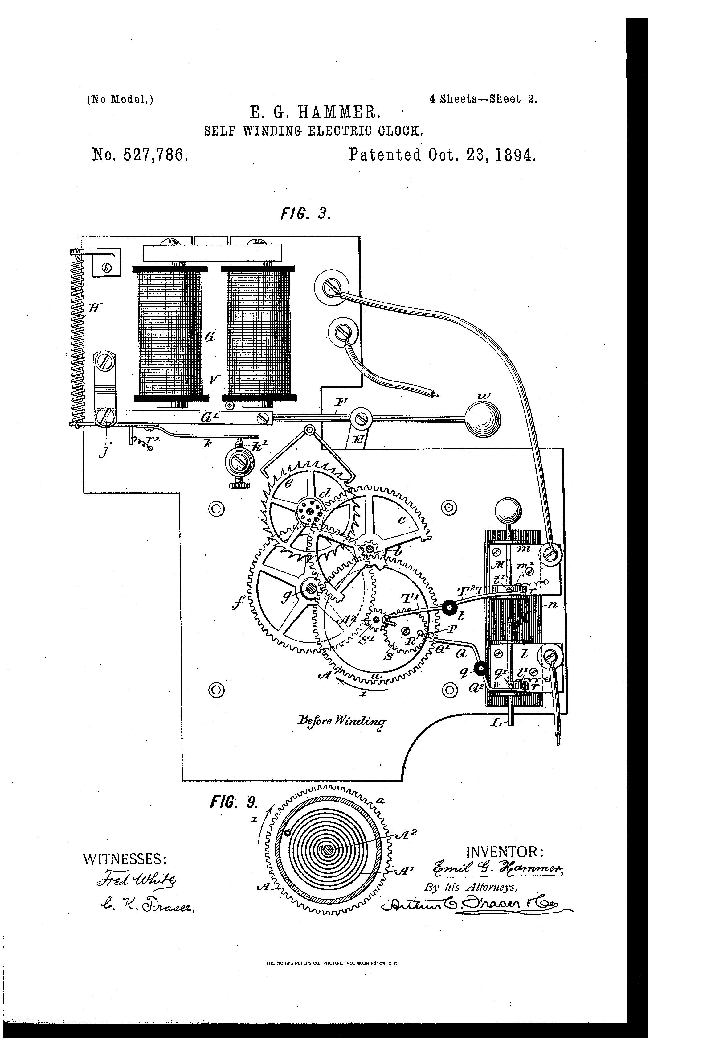 Us527786a Self Winding Electric Clock Google Patents