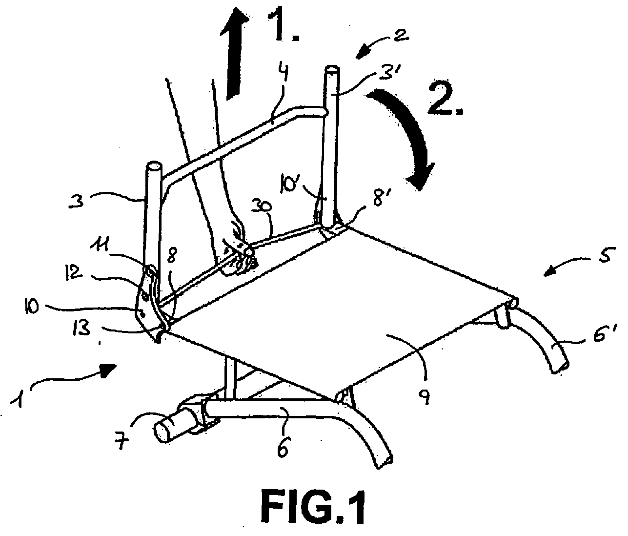 ep1769783a1 device for adjusting the seat back angle in a Lateral Support Wheelchair with Headrest figure imgaf001