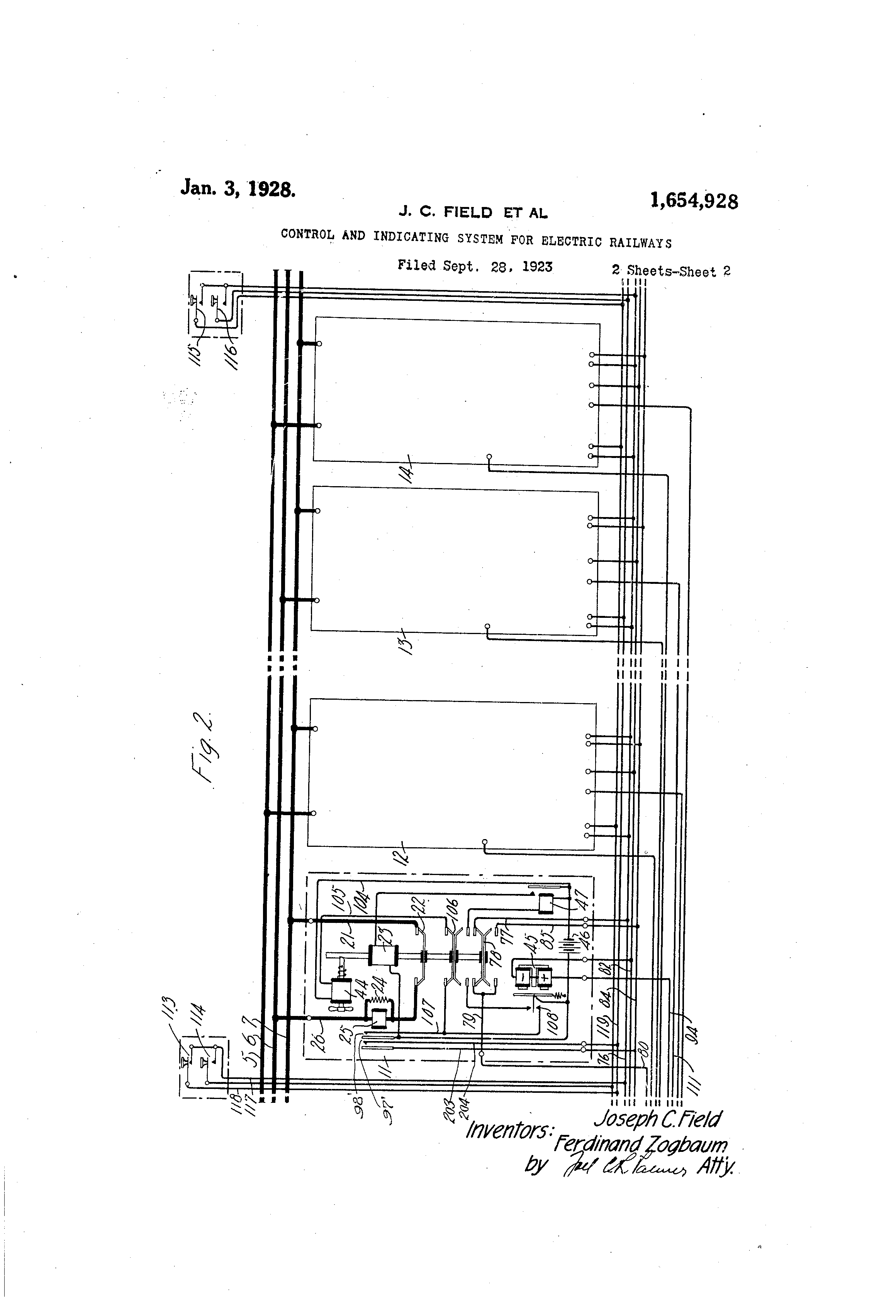 US1654928A - Control and indicating system for electric ... on