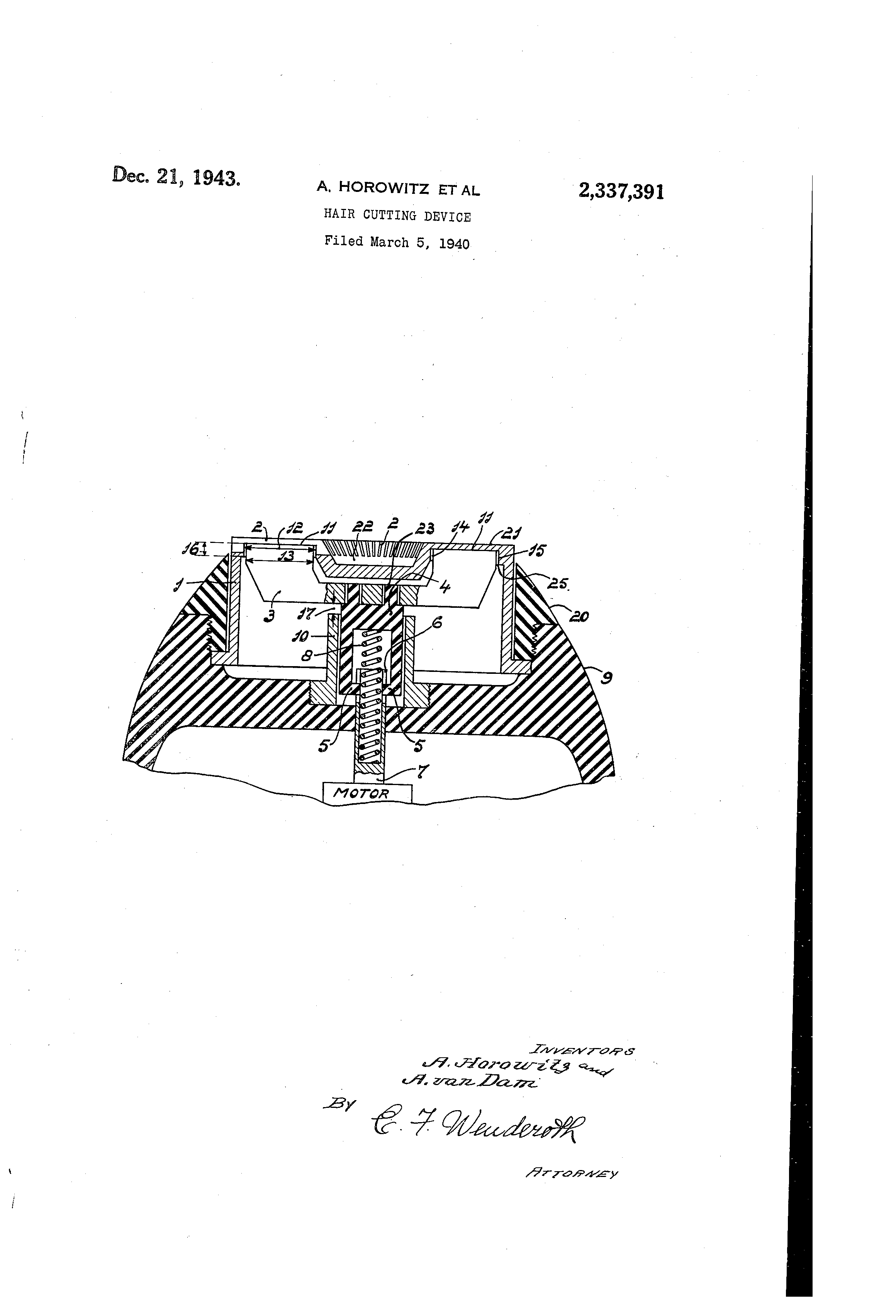 US2337391A patent drawings