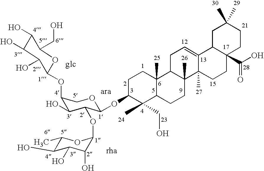 US7682638B2 - Use of hederagenin 3-O-α-L-rhamnopyranosyl(1-2
