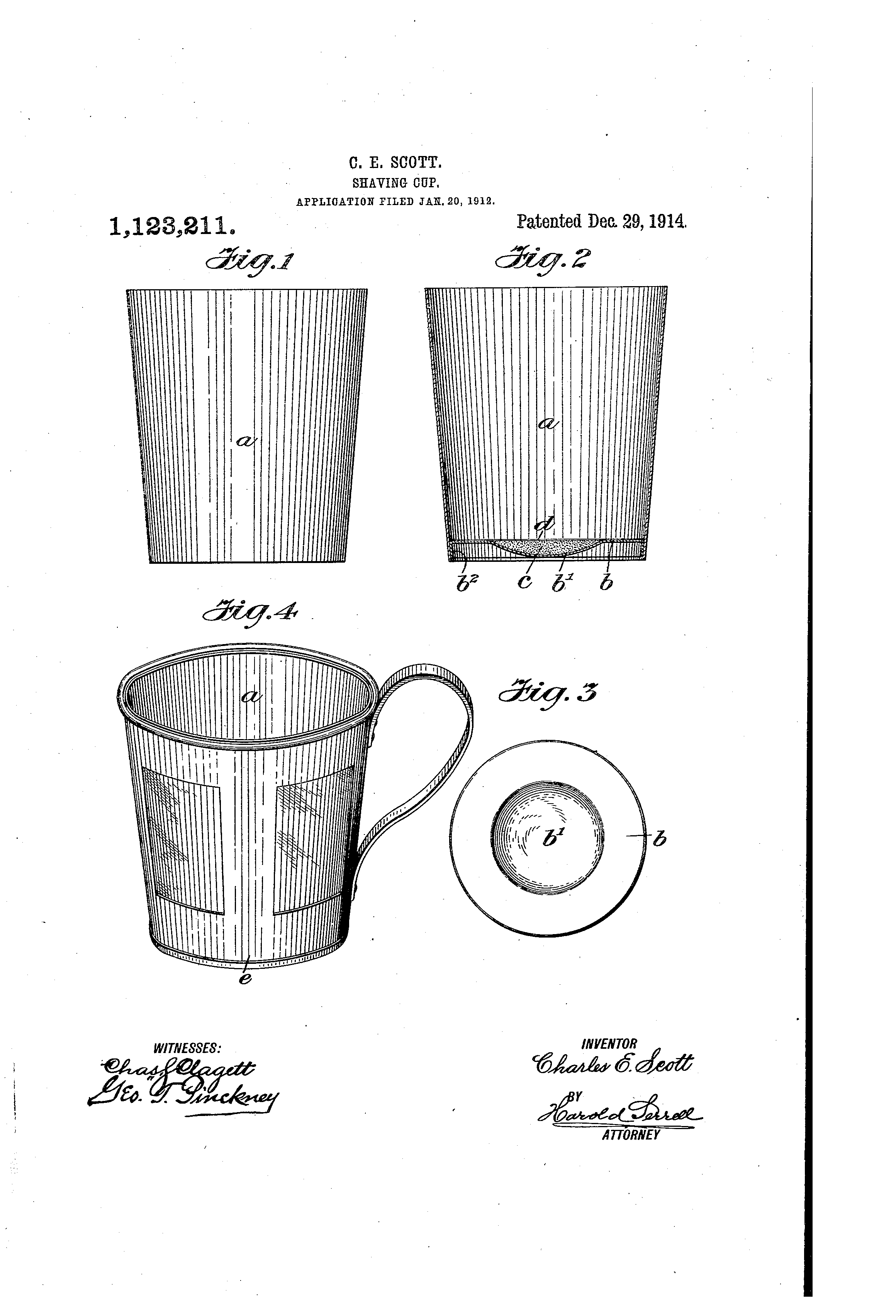 Patent image for US patent 1123211 - a hygienic, sanitary, and above all inexpensive disposable shaving cup.