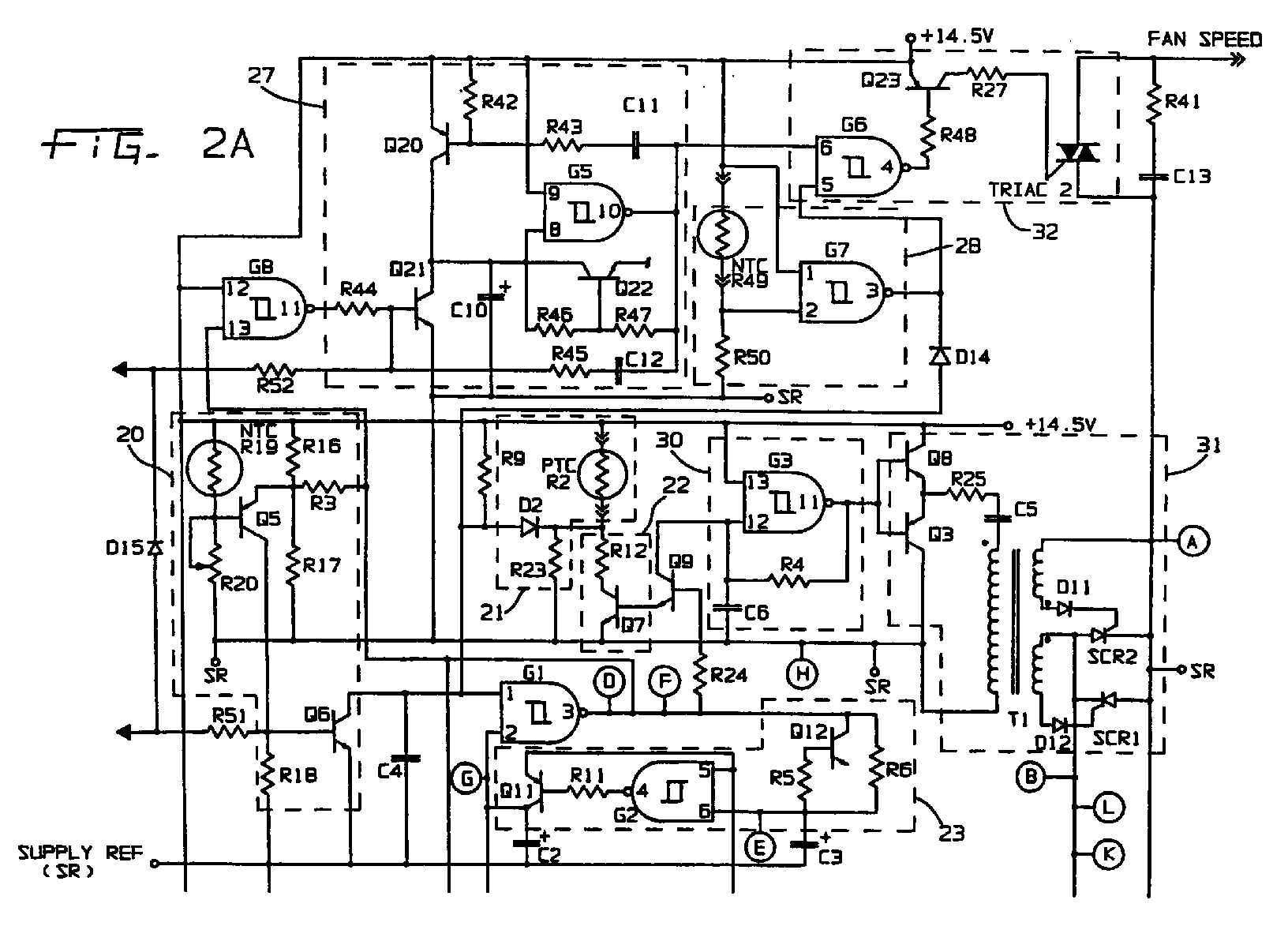 EP0831570A3 - Inductively activated control and protection circuit on thermal protector fuse, thermal switch wiring diagram, surge protector wiring diagram,