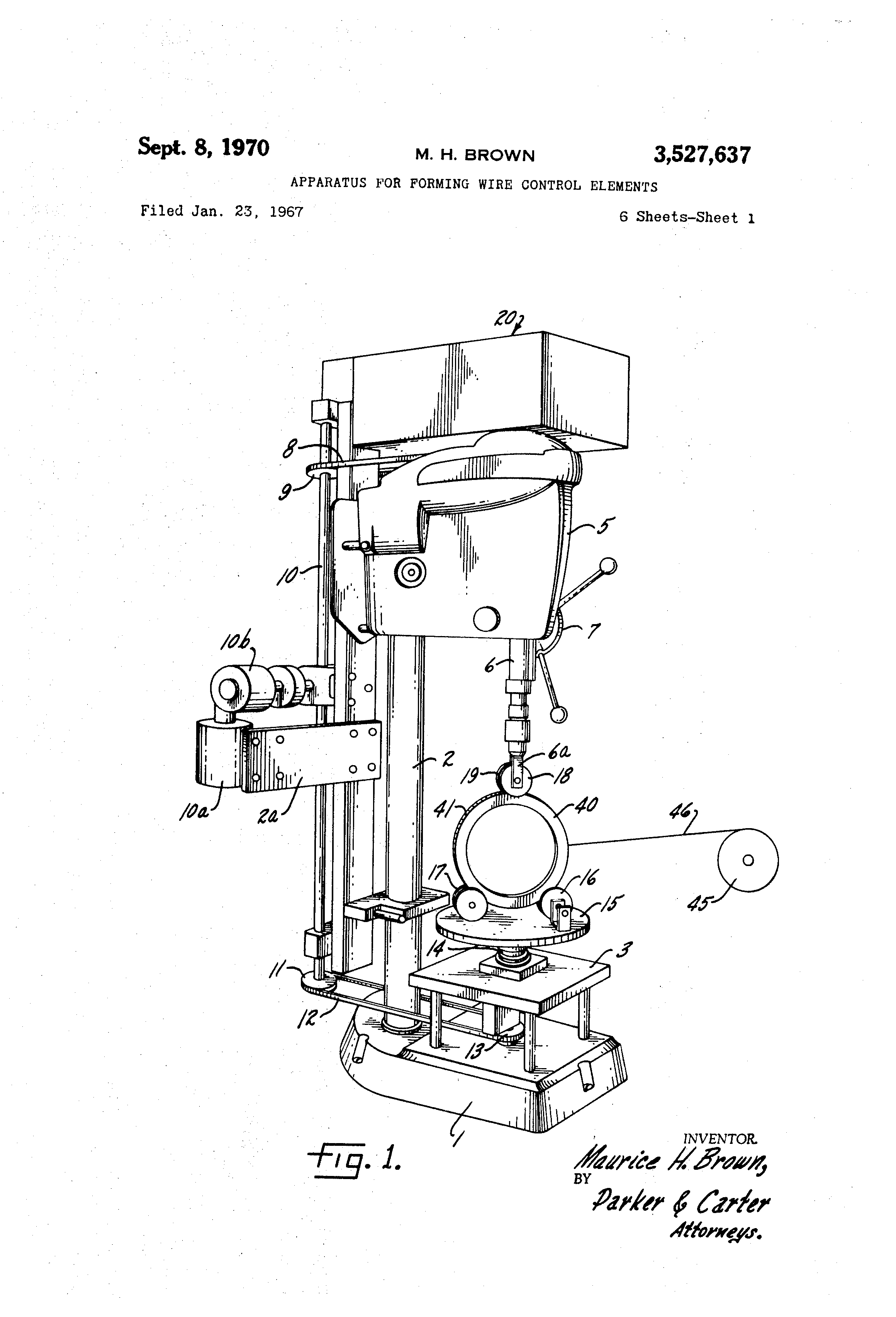 US3527637A - Apparatus for forming wire control elements ... on