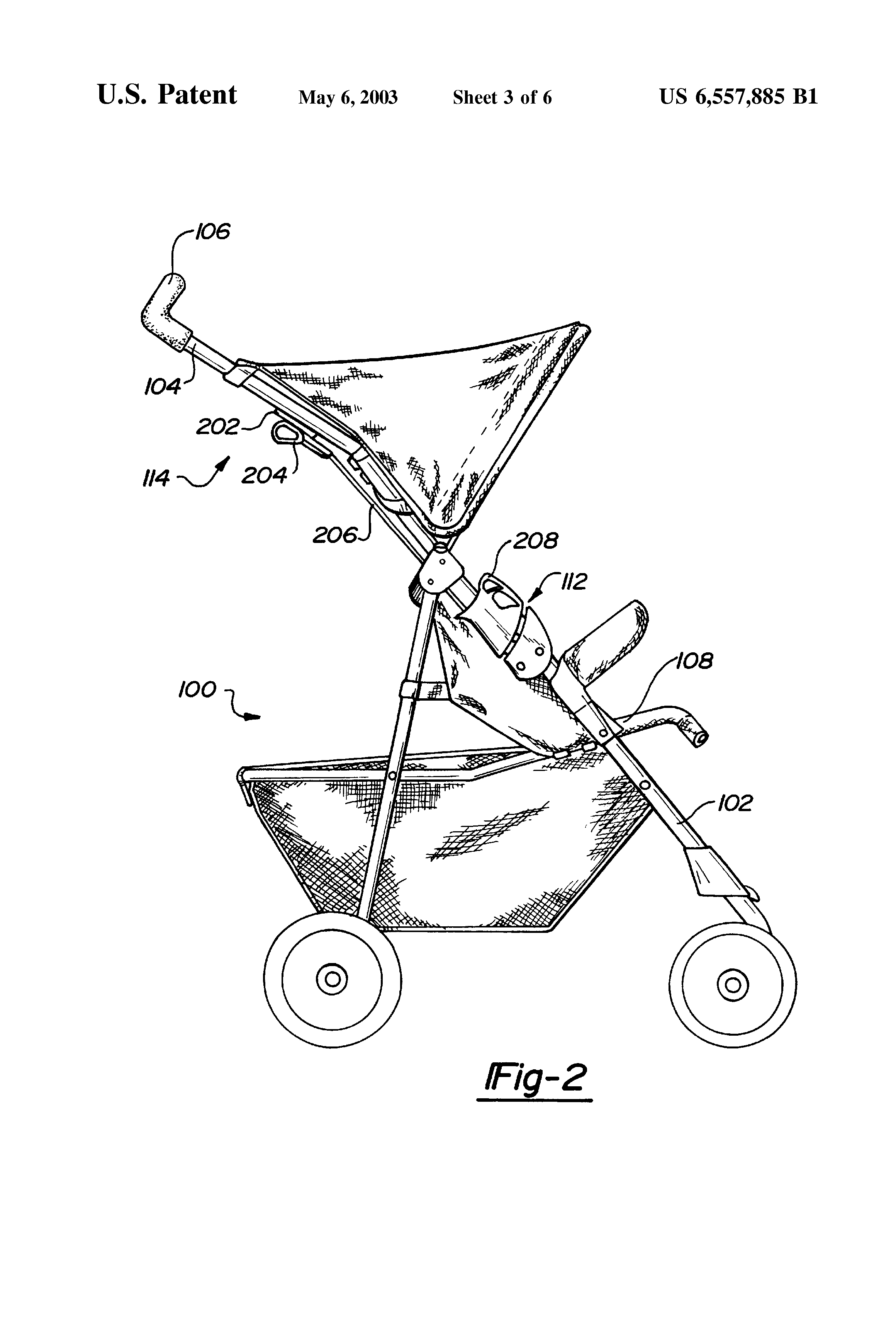 US6557885B1 - Stroller with release latch - Google Patents