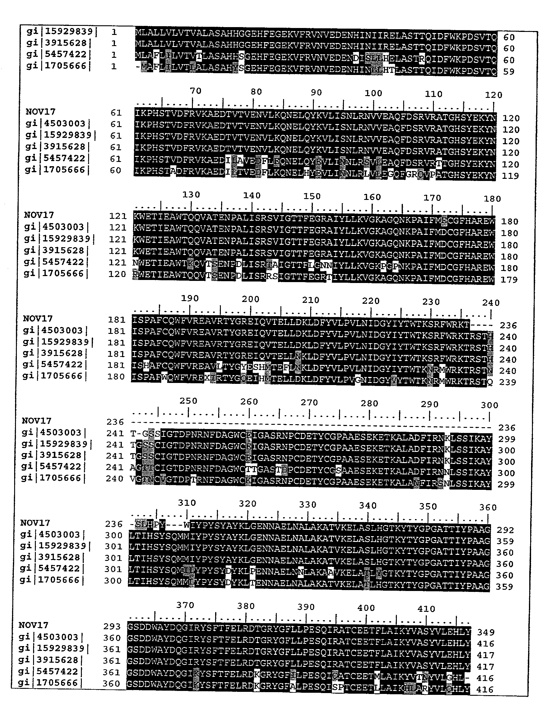 US20040010119A1 - Novel proteins and nucleic acids encoding same ...