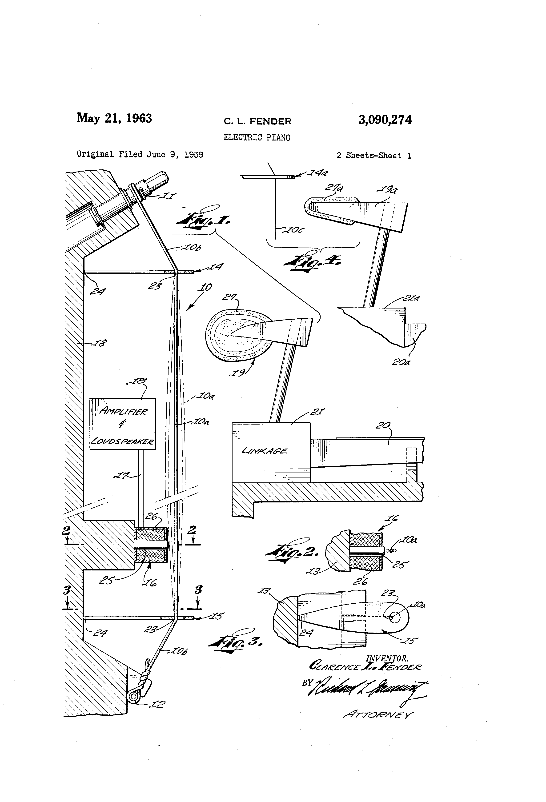 Страница патент US3090274A, зарегистрированного Лео Фендером