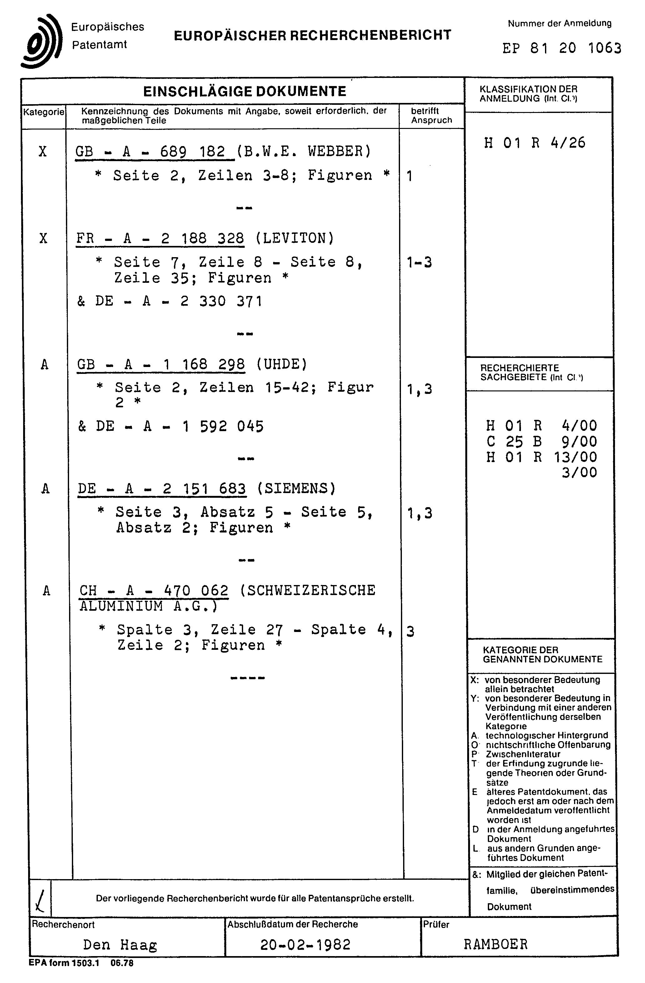 Patent EP0052384A1 - Lösbarer Anschlusskontakt für Hochstromleiter ...
