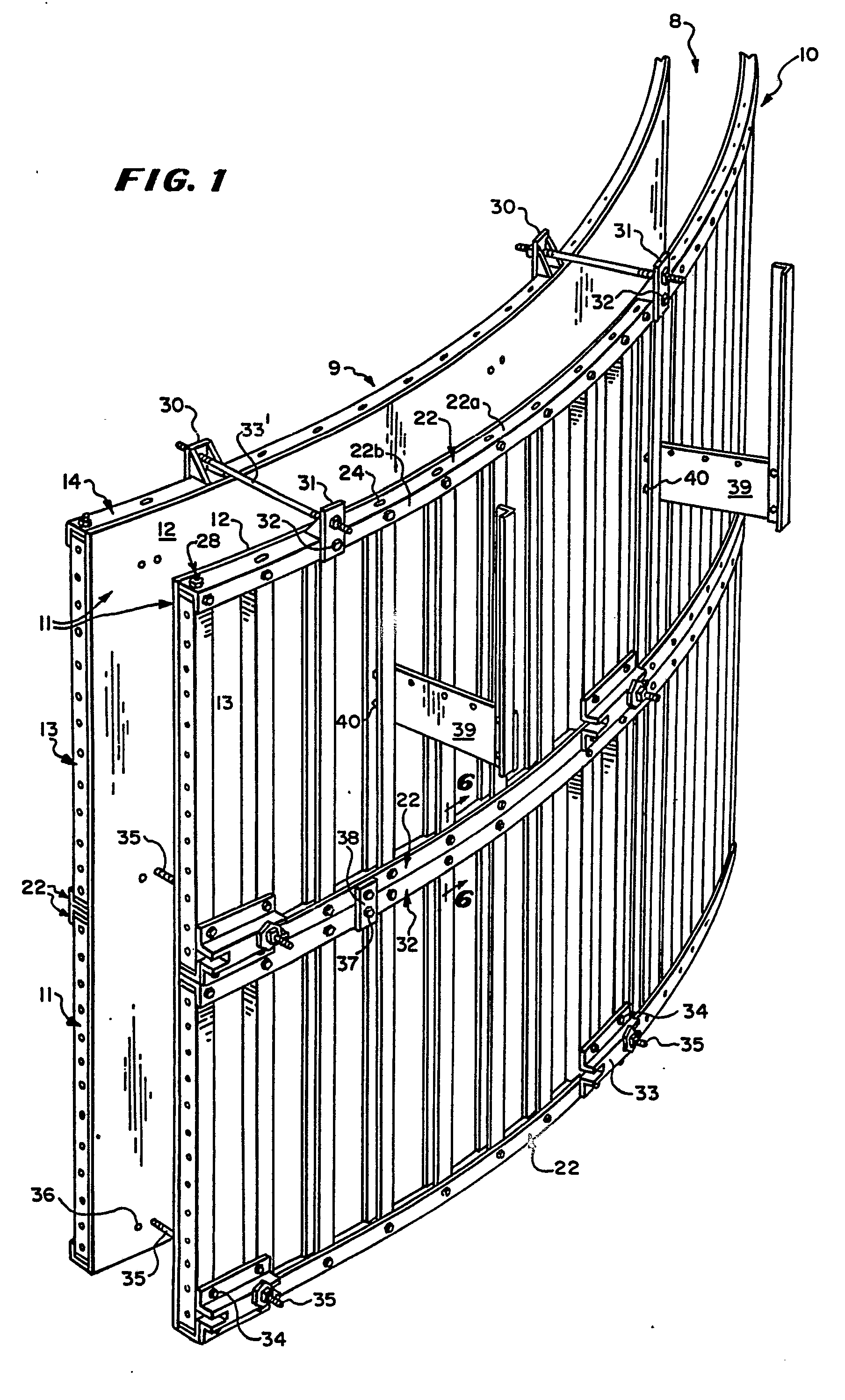Patent EP0321006A2 - Concrete forming system for curved ...