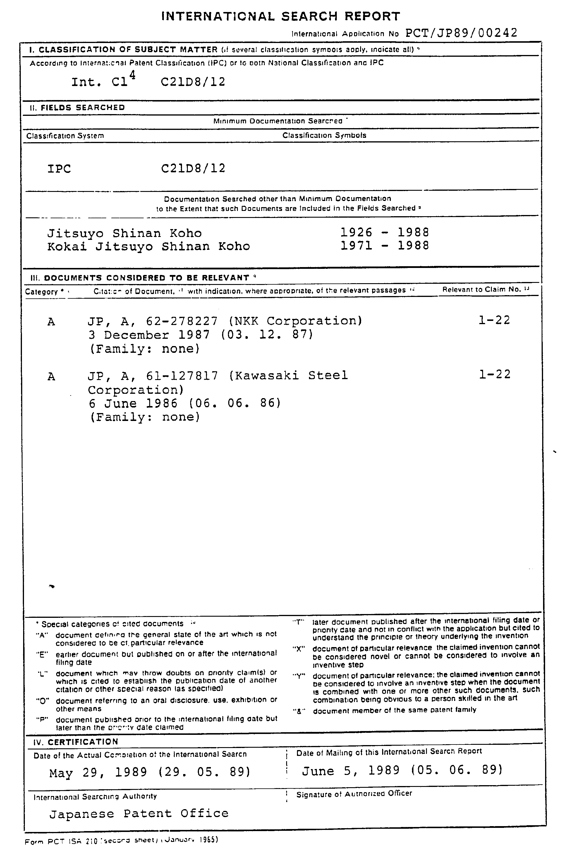 Patent EP0367831A1 Process for producing nonoriented electric – Generic Certificate of Origin