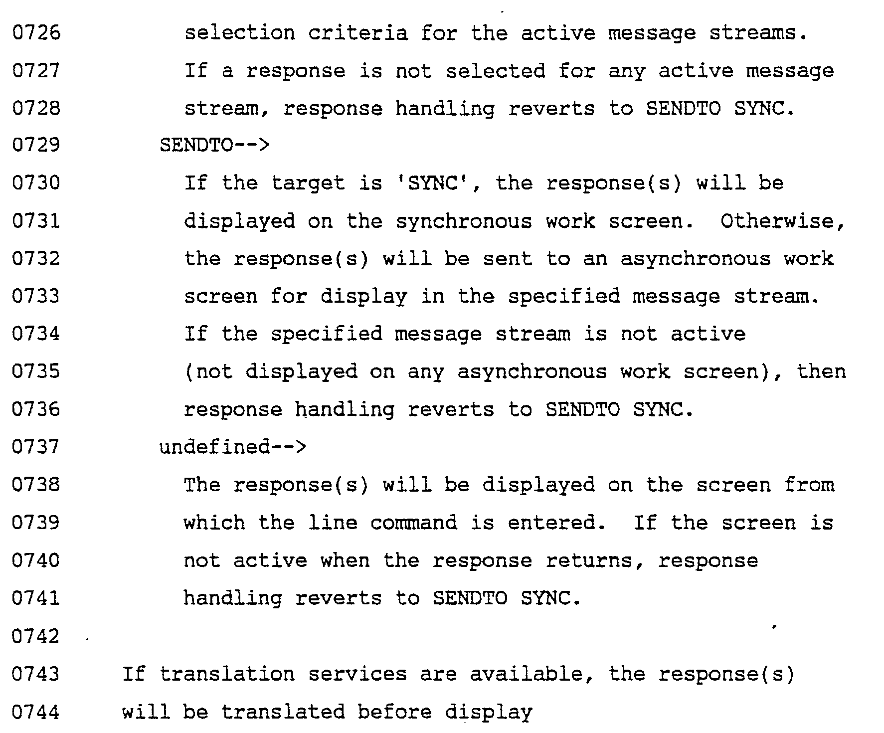 Patent EP0408309A2 - Message streaming with command-option