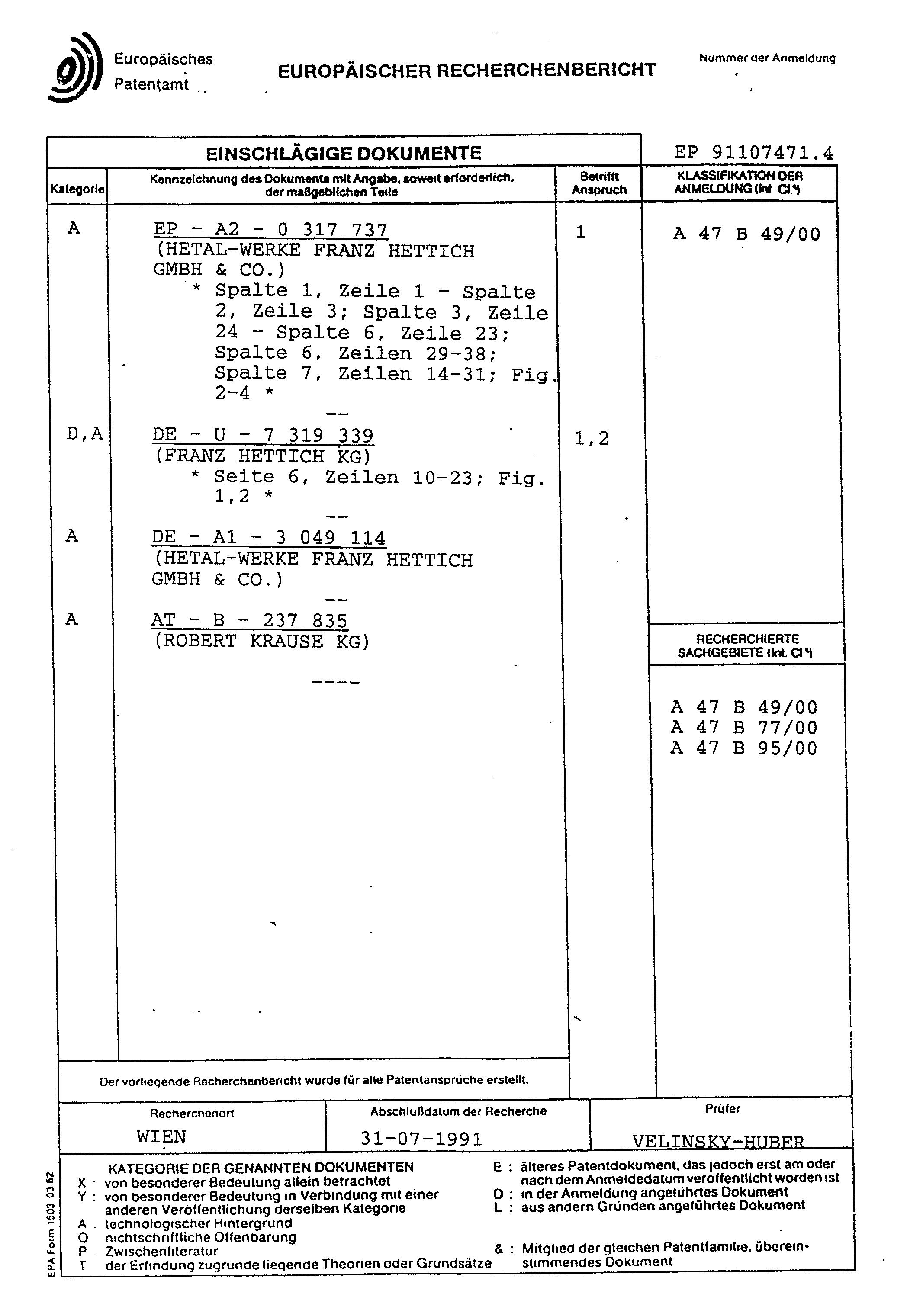patent ep0459189a1 ferrures pour armoire d 39 angle en. Black Bedroom Furniture Sets. Home Design Ideas