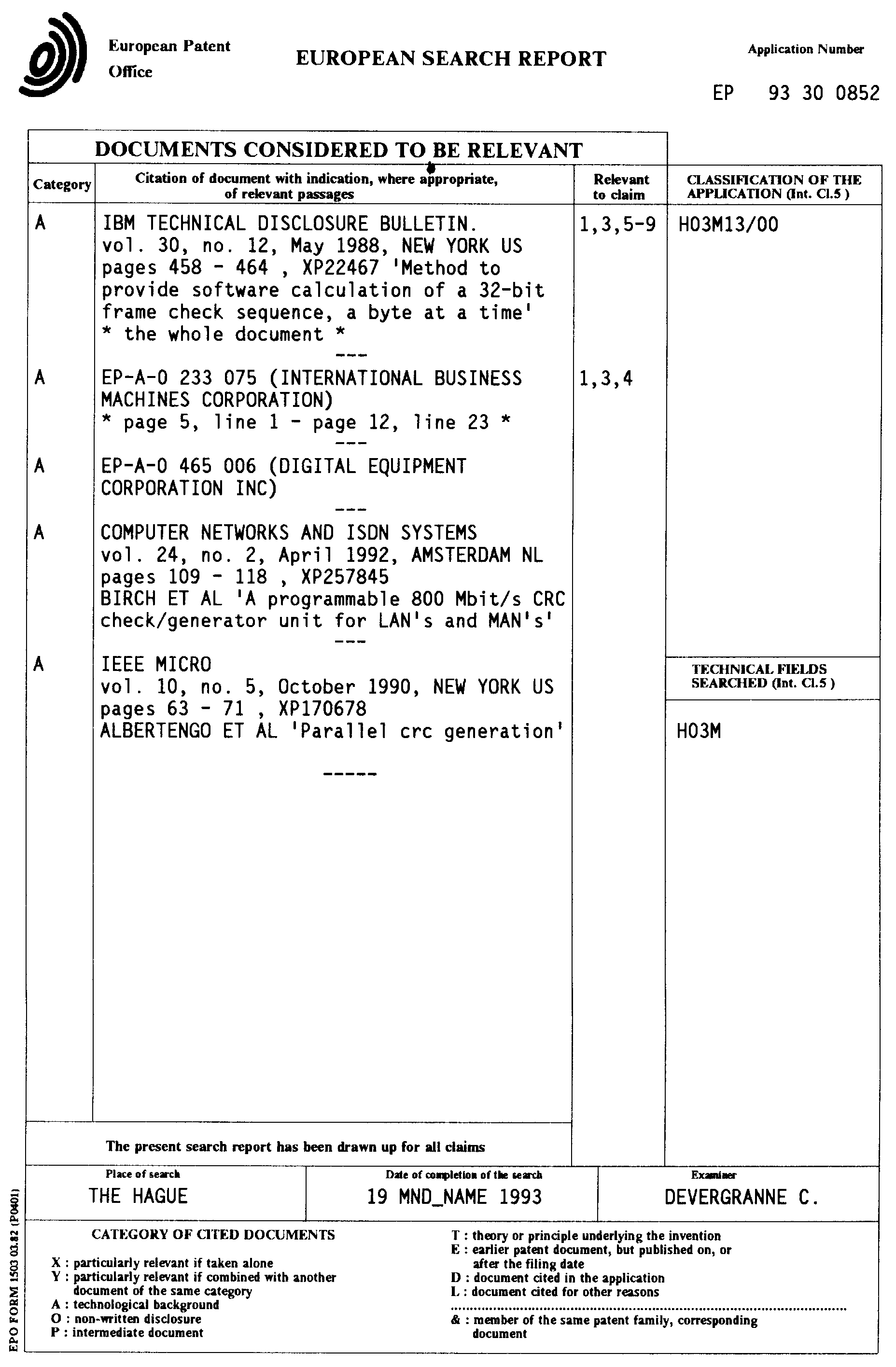 Patent EP0609595A1 - Method and apparatus for verifying CRC codes