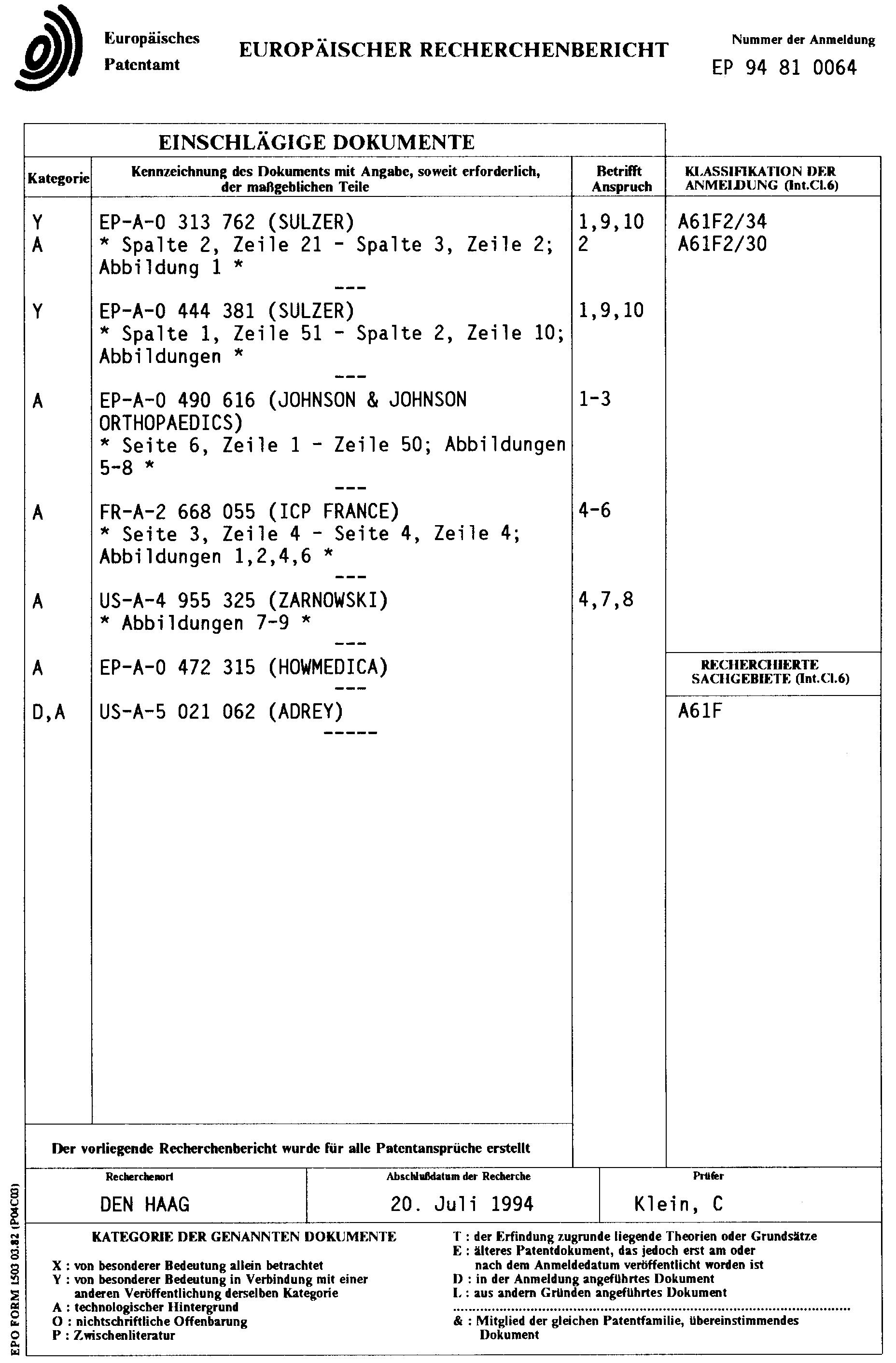 Patent EP0666067A1 - Mindestens zweischalige Gelenkpfanne einer ...