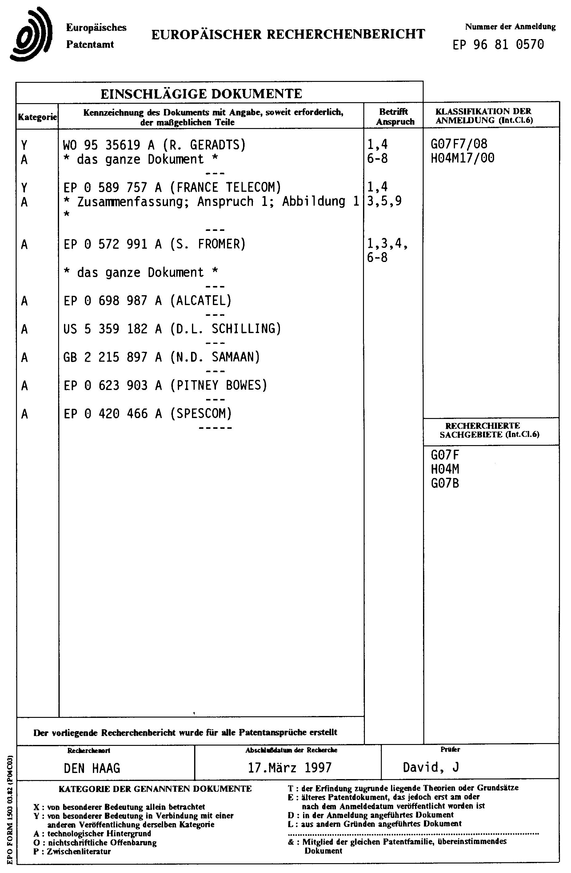 patent ep0827119a1 verfahren zum aufladen oder nachladen einer datentr gerkarte mit einem. Black Bedroom Furniture Sets. Home Design Ideas