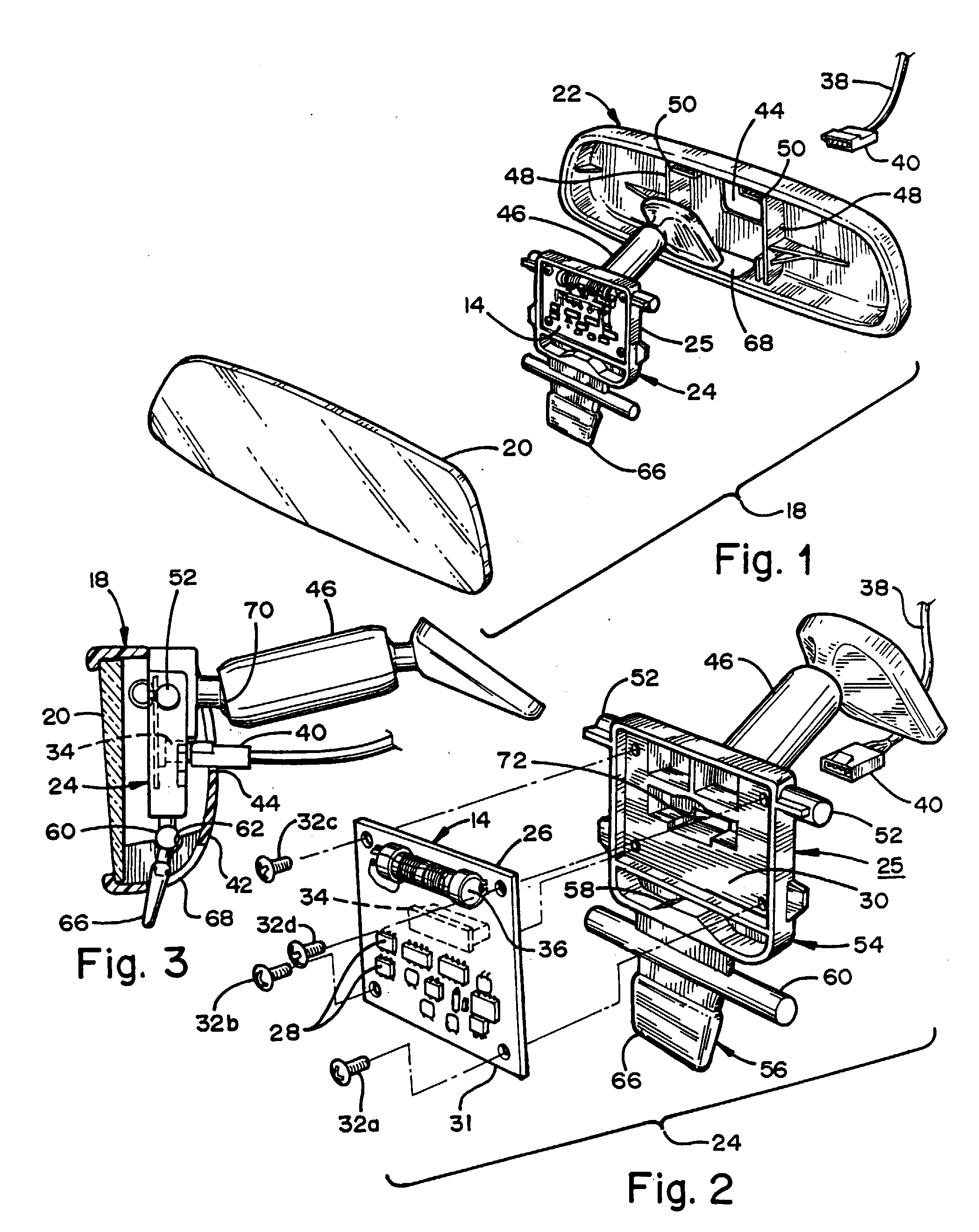patent ep0860325a2 - interior vehicle mirror assembly having communication module