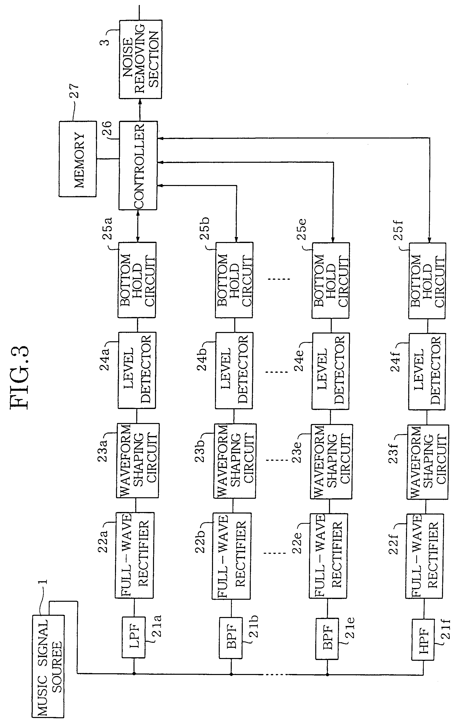 Patent Ep0895353a2 Noise Reduction System For An Audio Hiss Filter Circuit Drawing