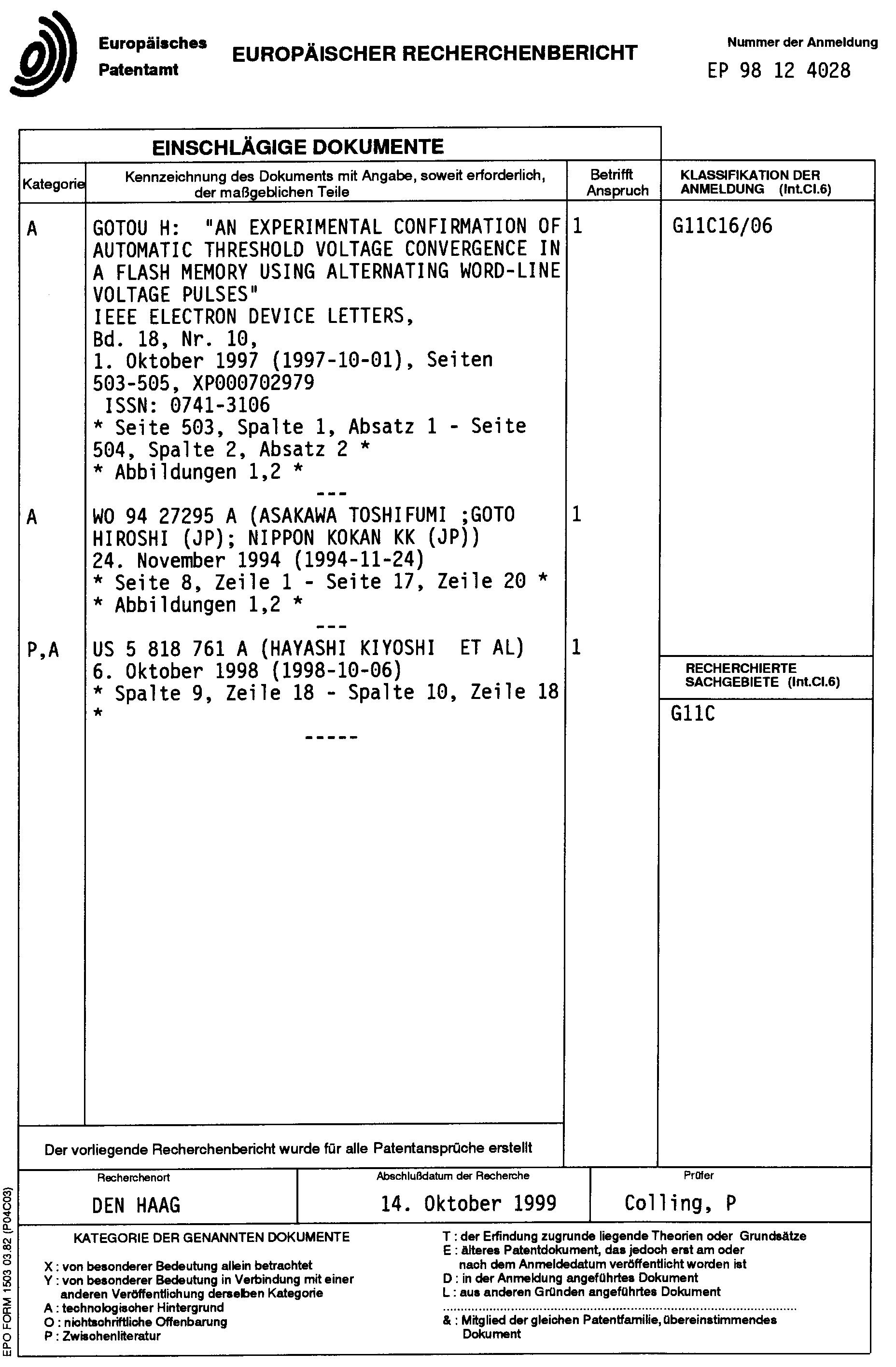 Patent EP0936626A3 - Elektrisch programmierbarer Nur-Lese-Speicher ...