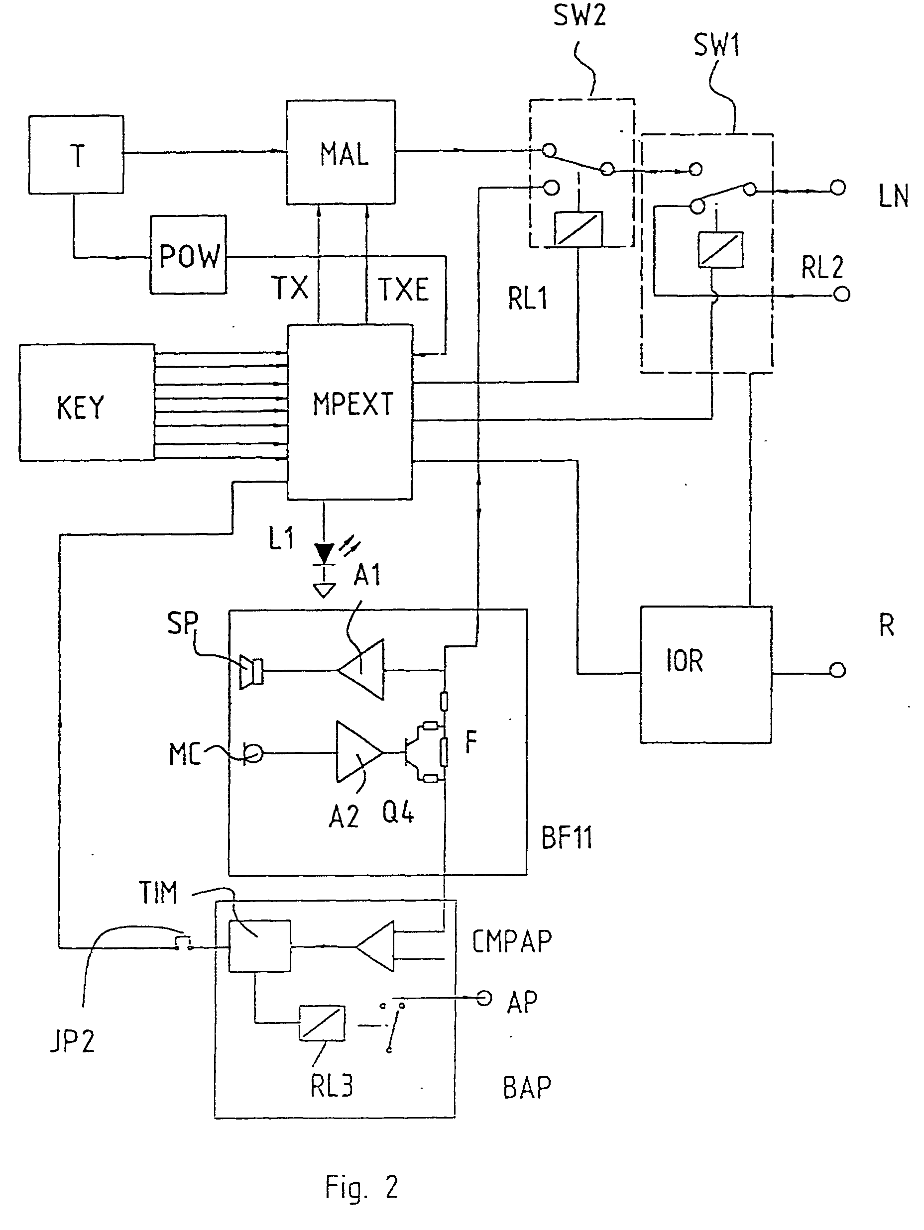 00230001 patent ep0946035a2 two wires intercom system google patents bitron video intercom wiring diagram at gsmx.co