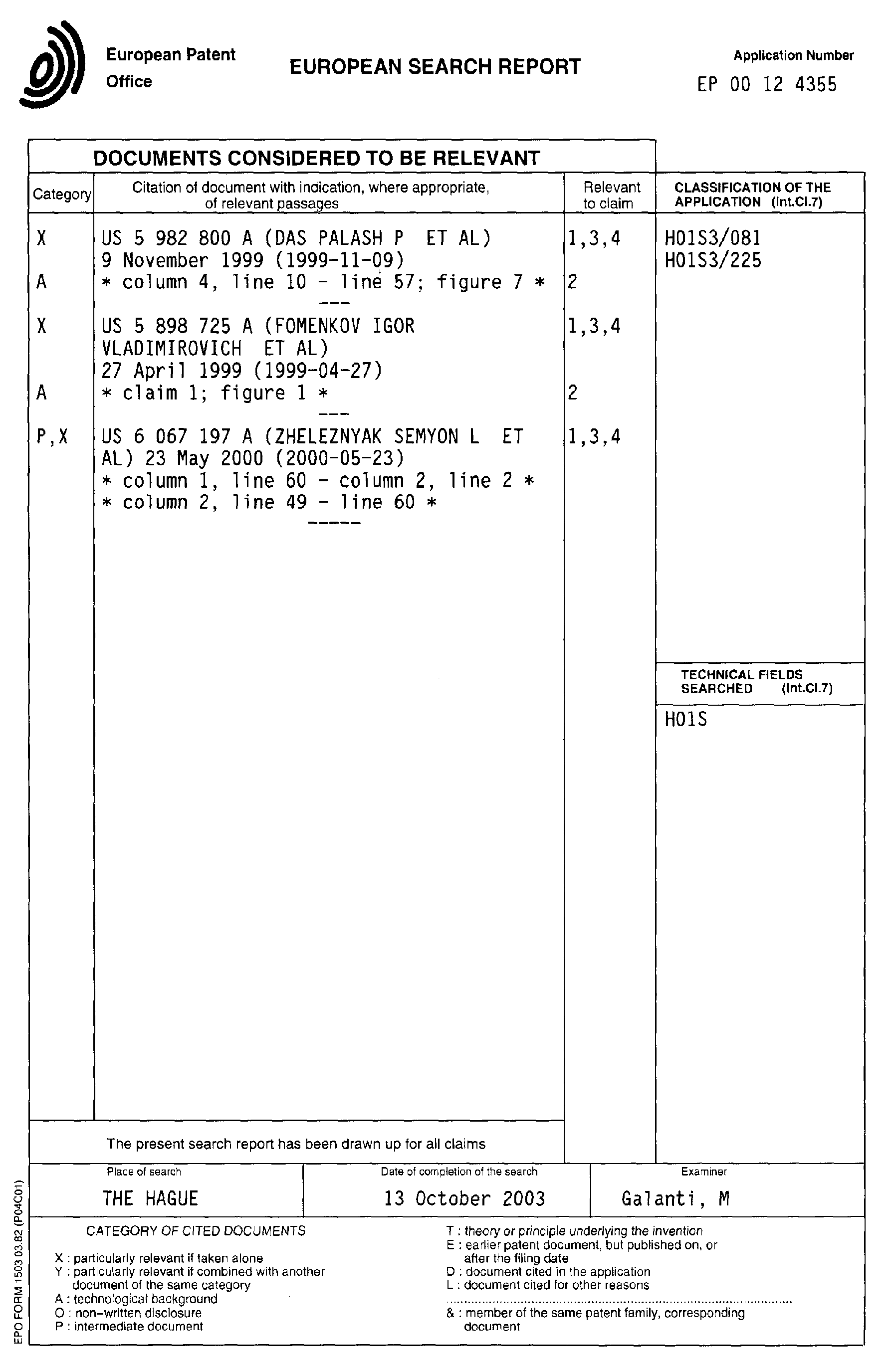 Patent Ep1102368a3 Narrow Band Excimer Laser Apparatus
