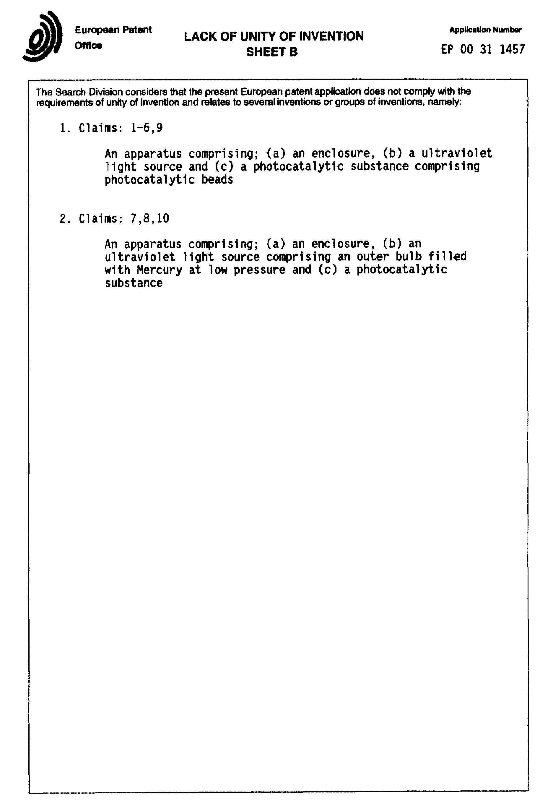 Patent EP1112752A3 - Vorrichtung zum Entfernen von Geruch sowie ...
