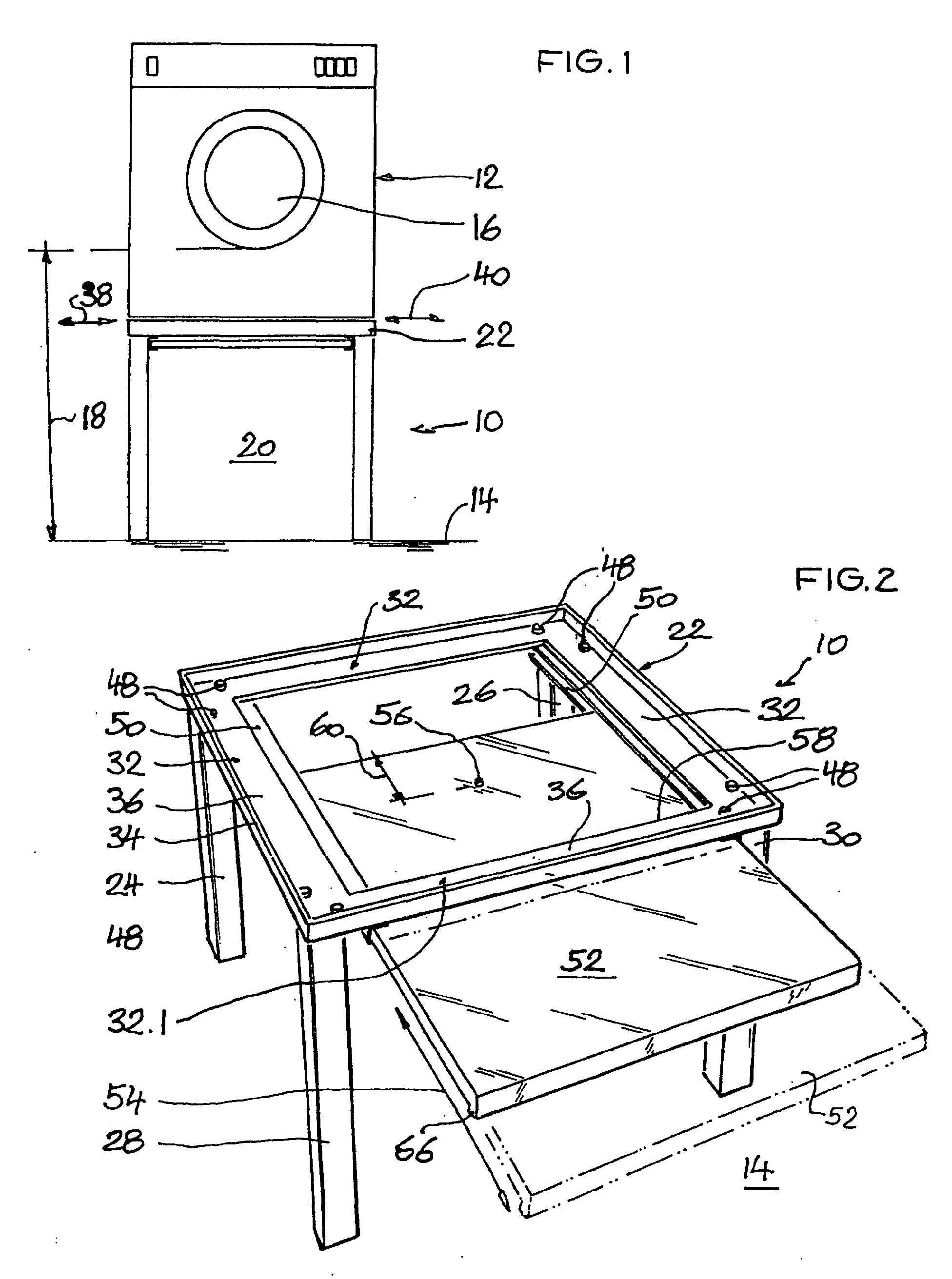 patent ep1227182a2 untergestell f r eine waschmaschine google patents. Black Bedroom Furniture Sets. Home Design Ideas