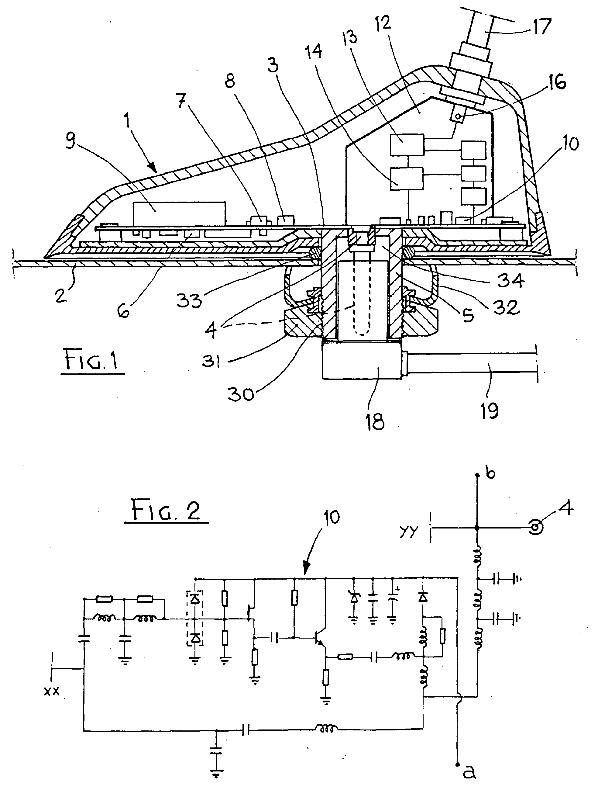 Patent Ep1286414a1 - Roof-mounted Multifunctional Car Antenna